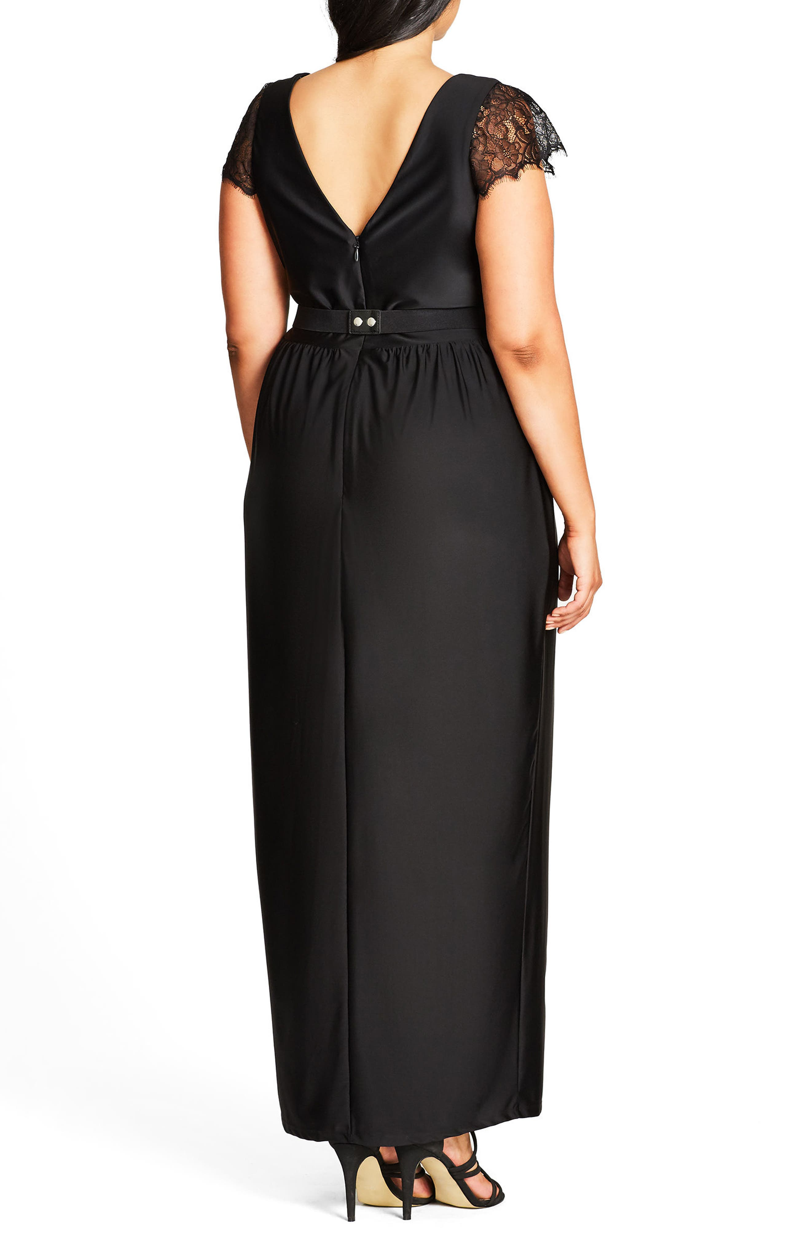 CITY CHIC, Flirty Drape Maxi Dress, Alternate thumbnail 2, color, BLACK