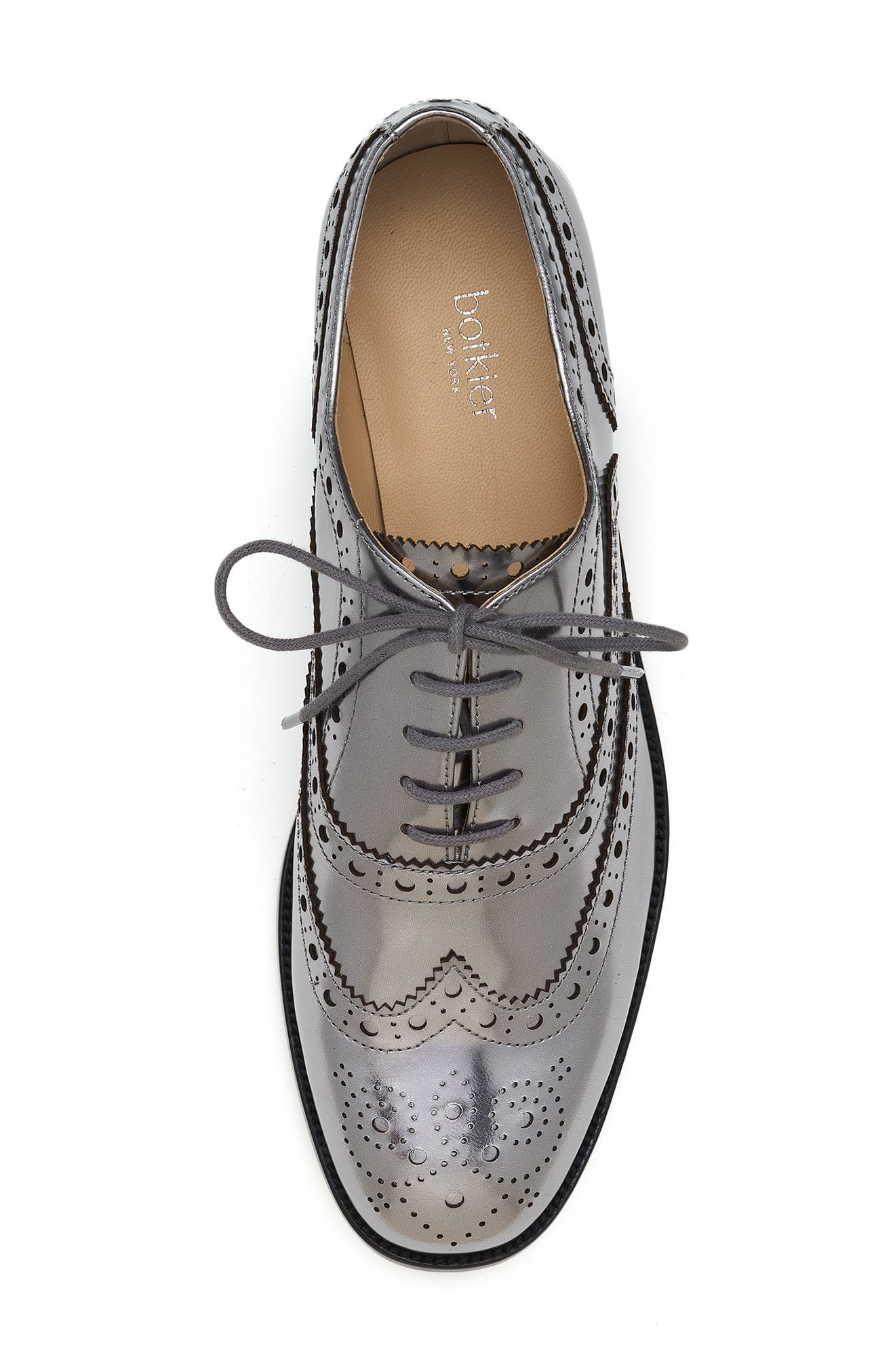 BOTKIER, Calista Metallic Wingtip Oxford, Alternate thumbnail 5, color, PEWTER METALLIC