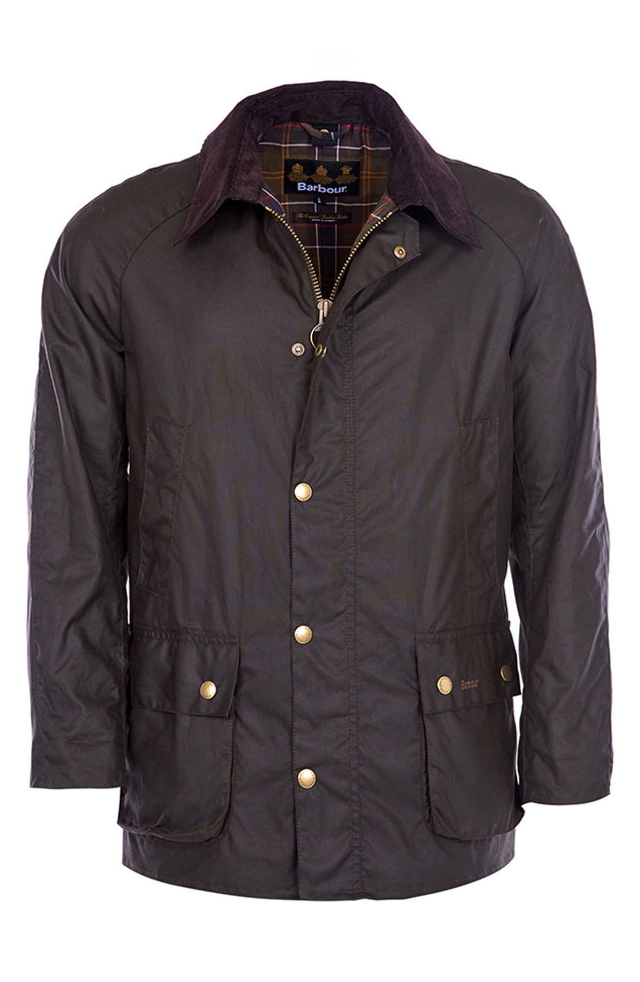 BARBOUR, Ashby Wax Jacket, Alternate thumbnail 10, color, OLIVE