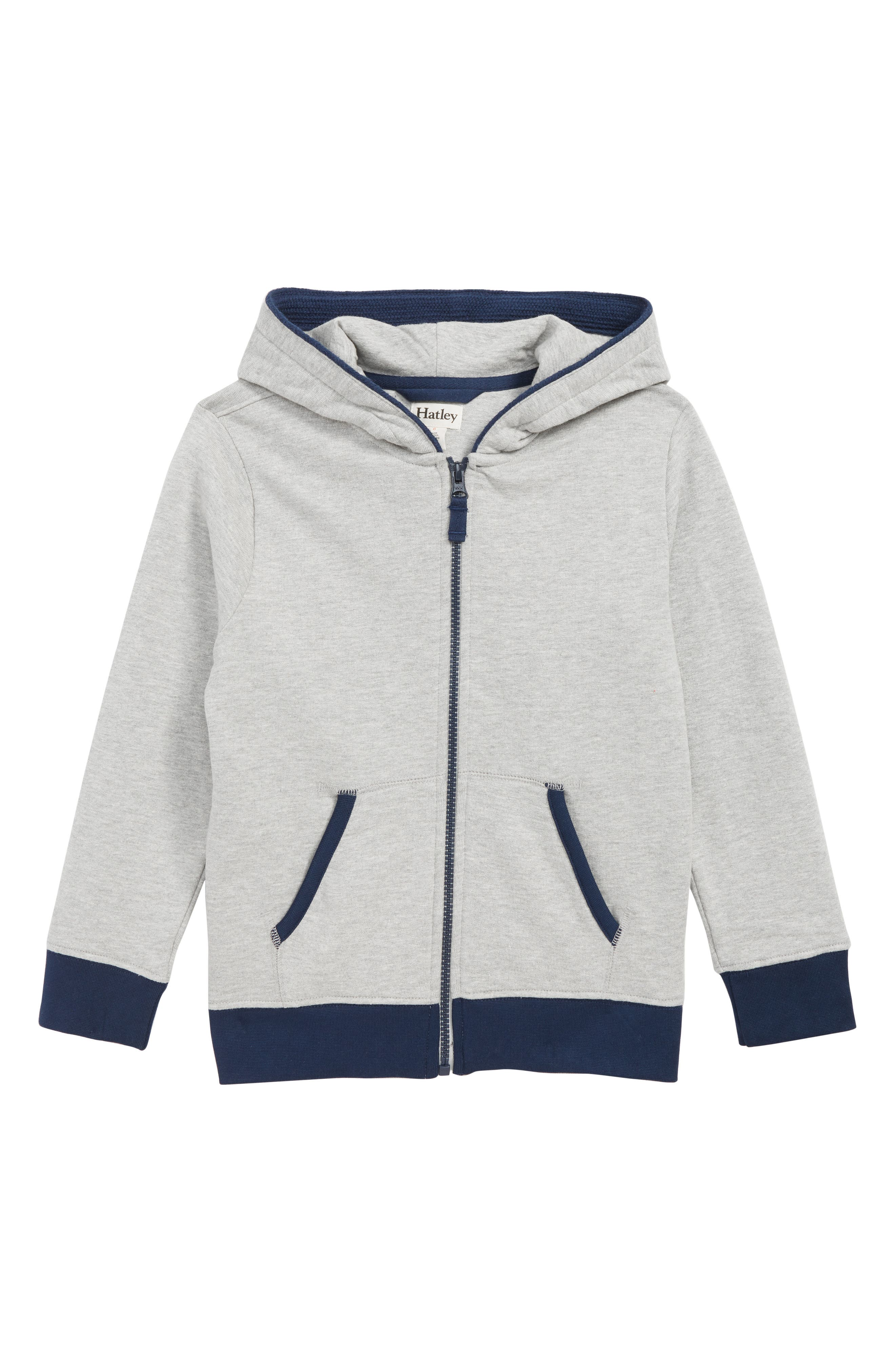HATLEY Full Zip Hoodie, Main, color, GREY