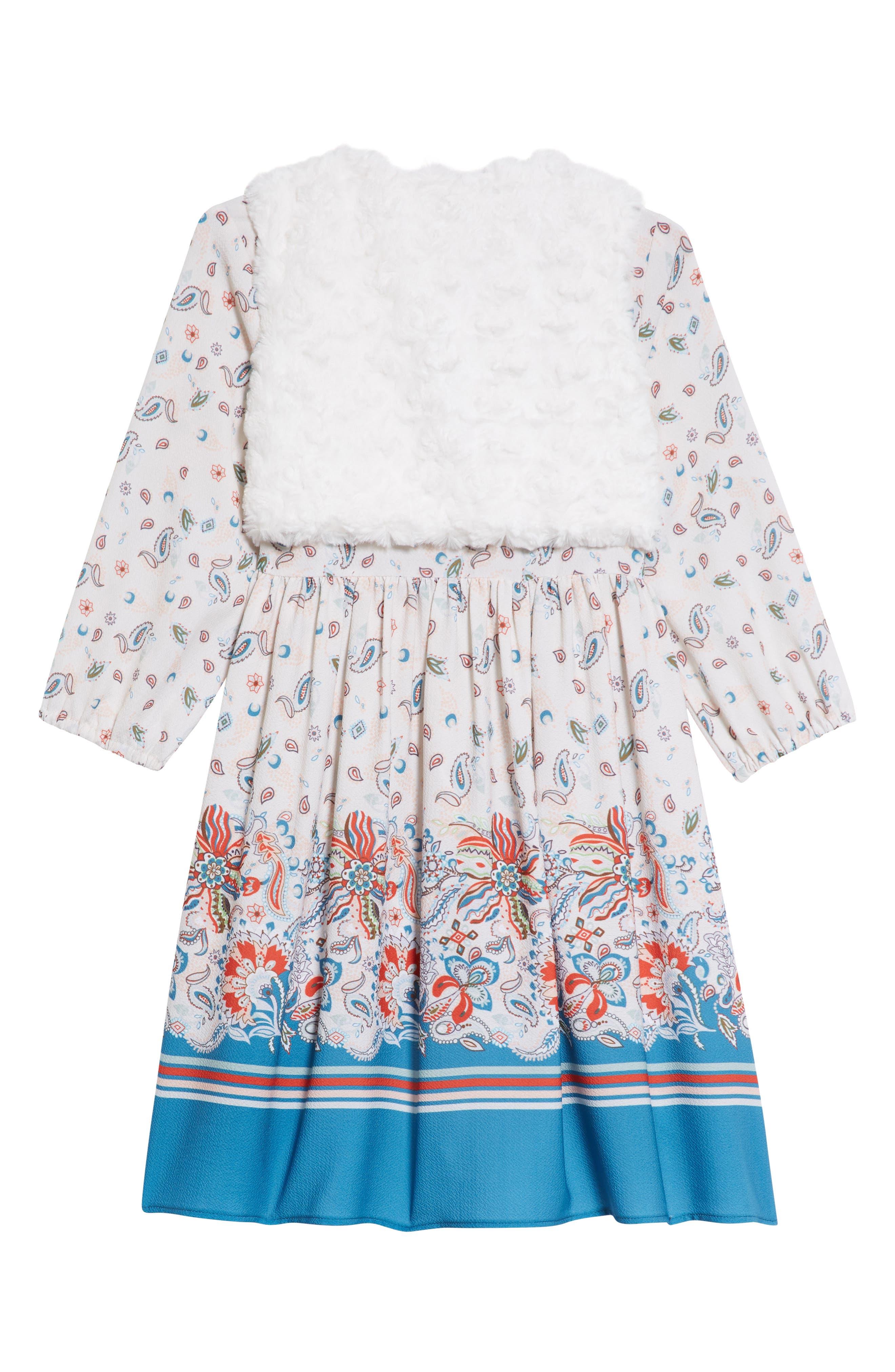 PIPPA & JULIE, Boho Paisley Dress & Faux Fur Vest Set, Alternate thumbnail 2, color, 900