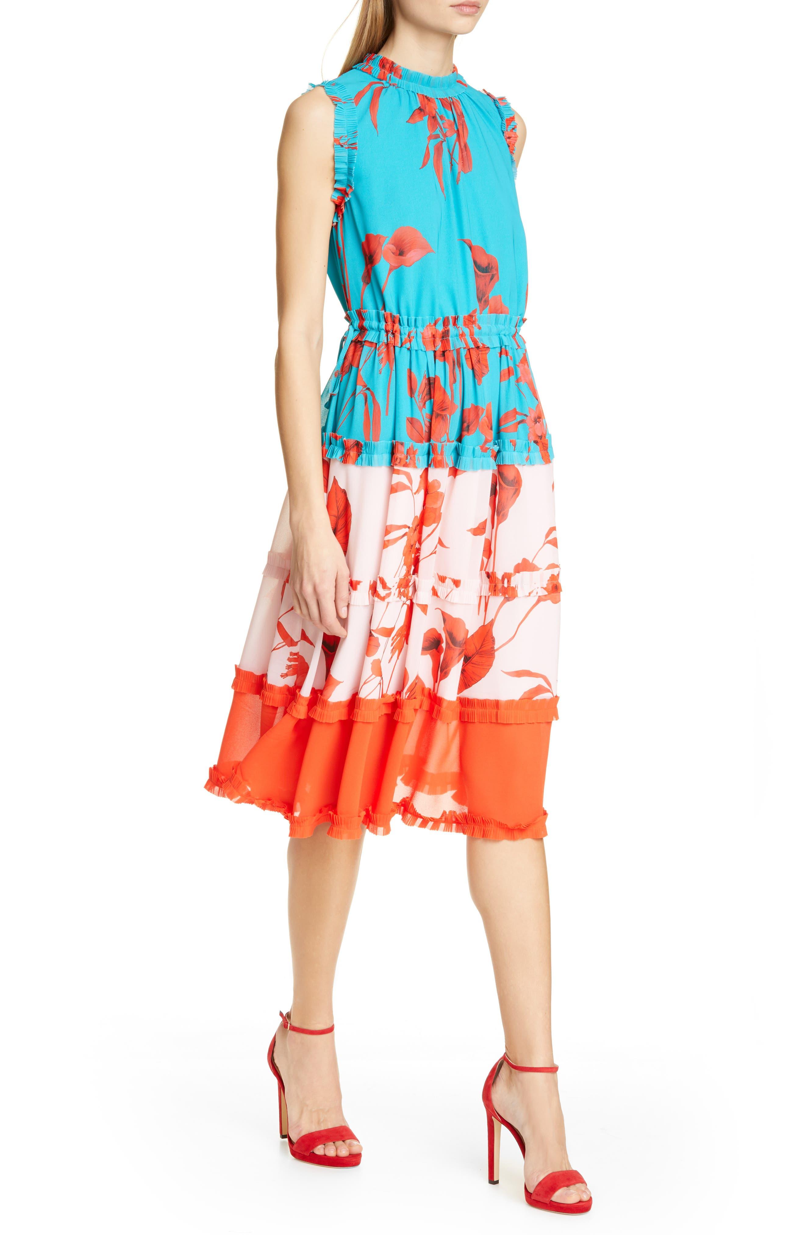 Ted Baker London Camelis Fantasia Tiered Midi Dress, Blue