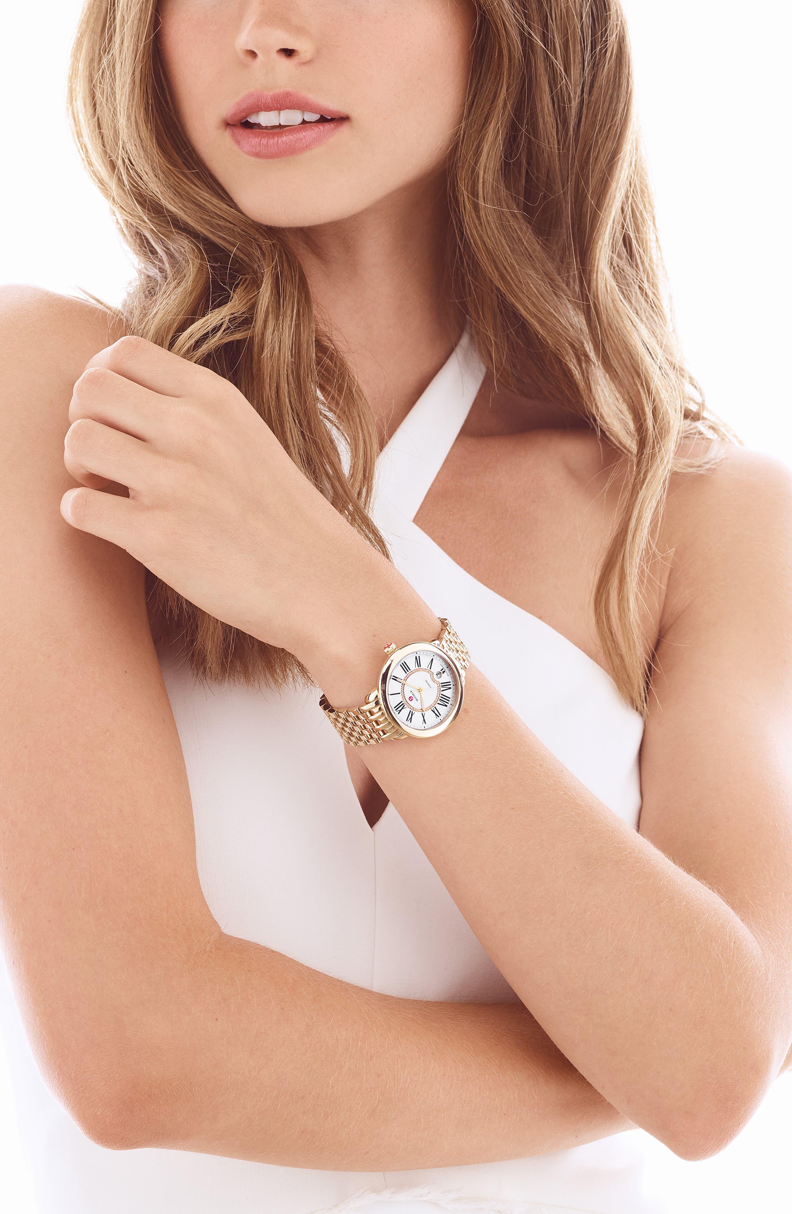 MICHELE, Serein 16 Diamond Dial Watch Head, 34mm x 36mm, Alternate thumbnail 2, color, GOLD
