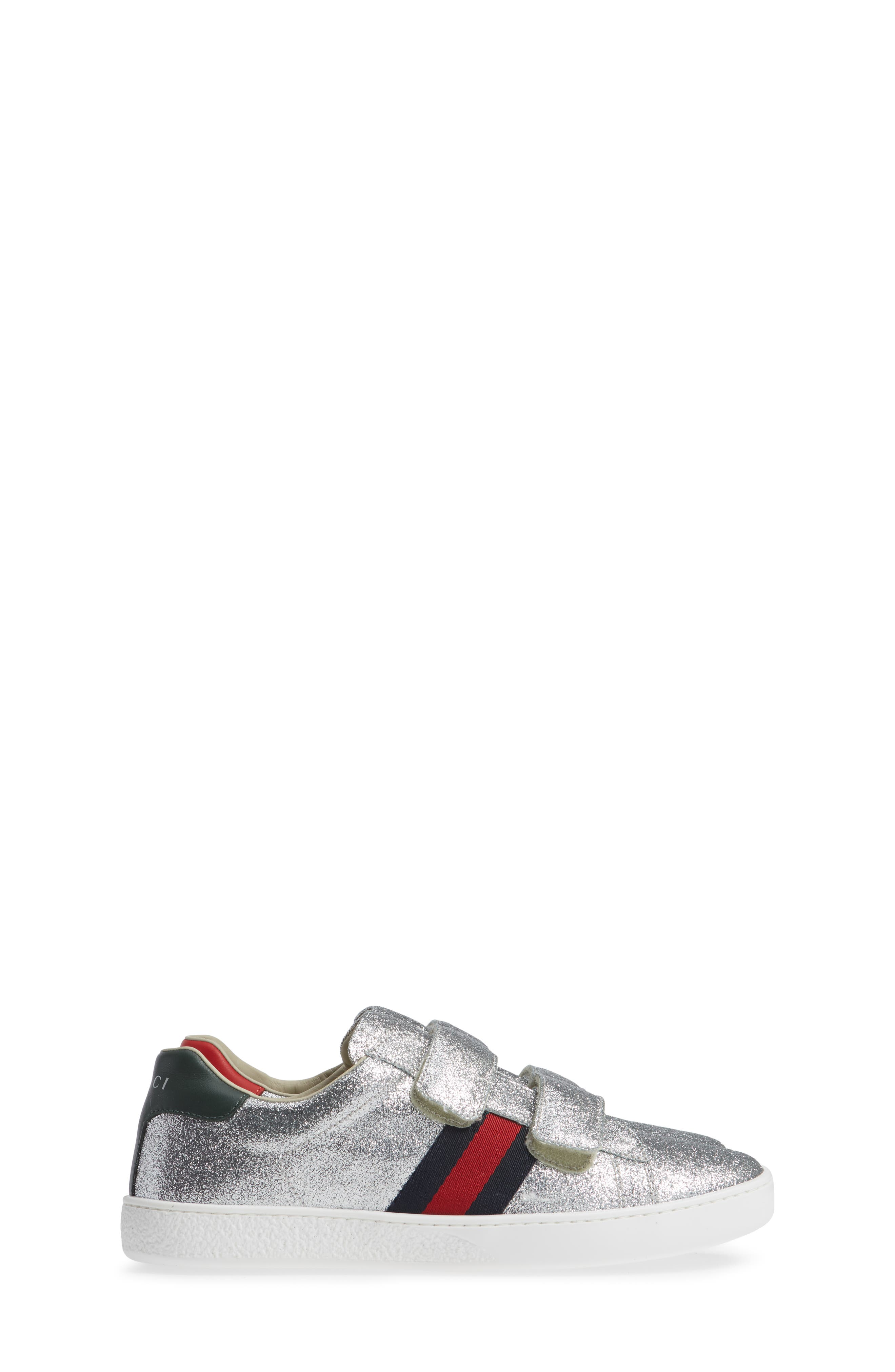 GUCCI, New Ace Sneaker, Alternate thumbnail 4, color, SILVER GLITTER