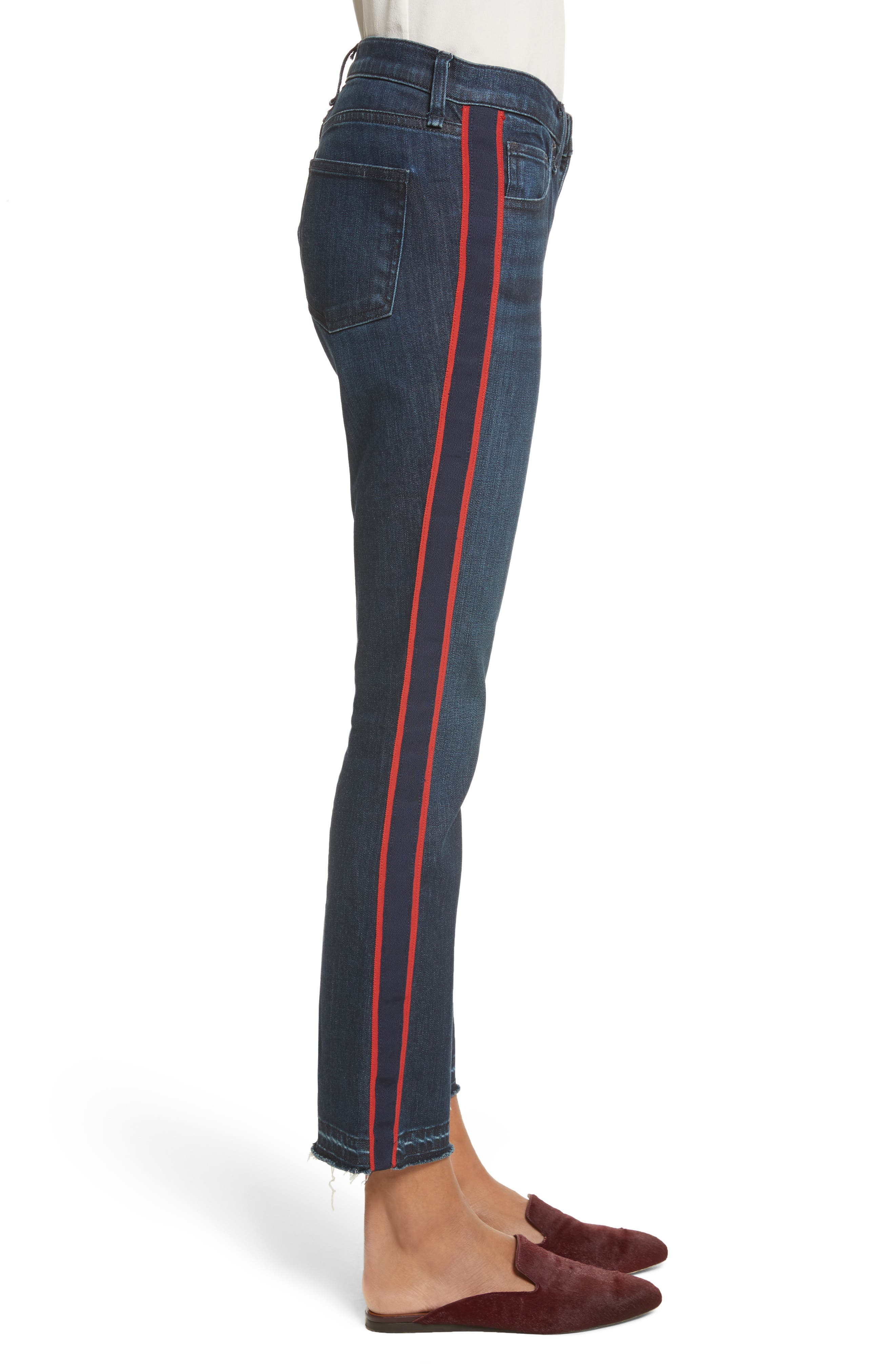 VERONICA BEARD, Carolyn Tuxedo Stripe Baby Boot Crop Jeans, Alternate thumbnail 3, color, MIDNIGHT FRAY/ RED
