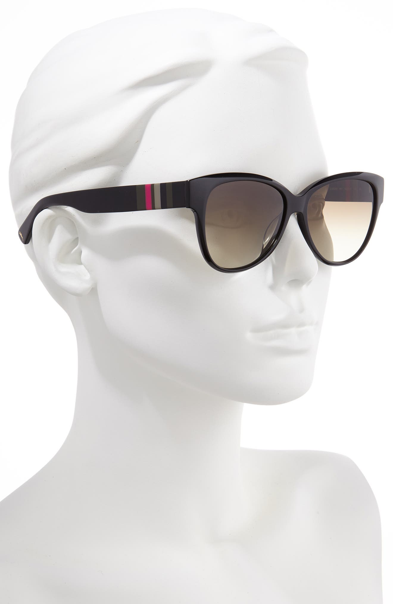 LONGCHAMP, Heritage Stripes 56mm Gradient Sunglasses, Alternate thumbnail 2, color, BLACK
