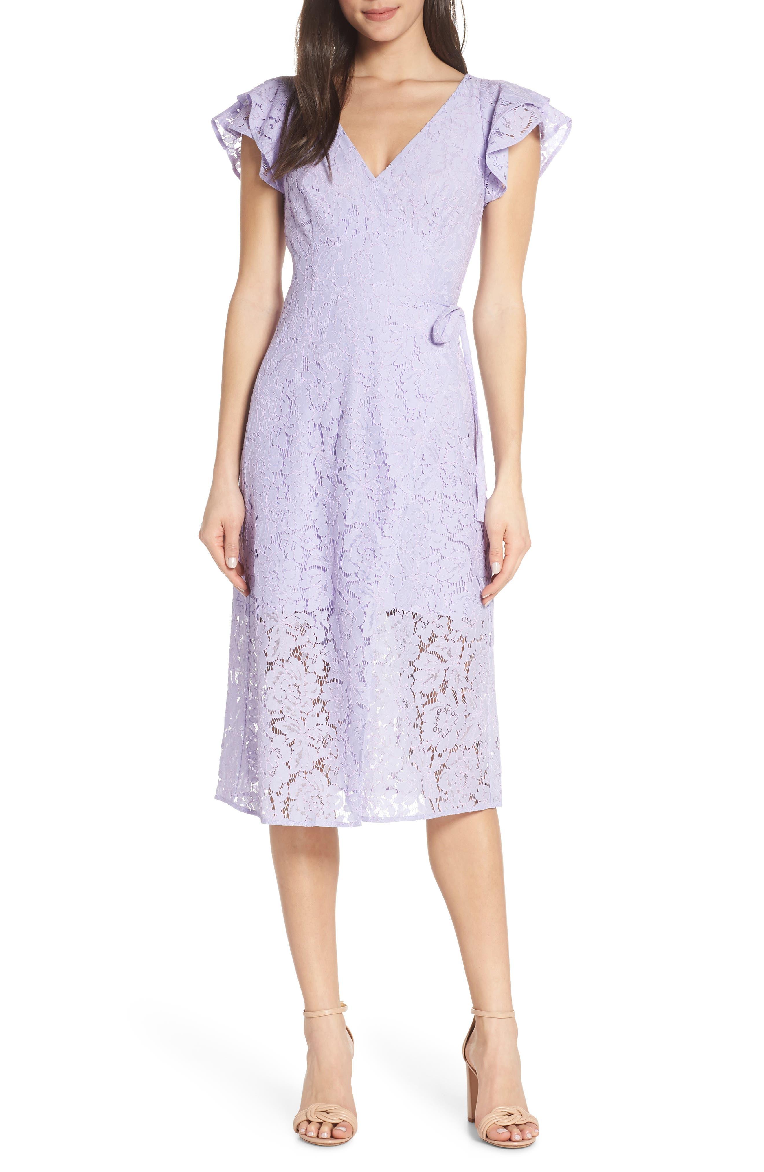 ALI & JAY Ruffle Sleeve Wrap Lace Midi Dress, Main, color, LAVENDER