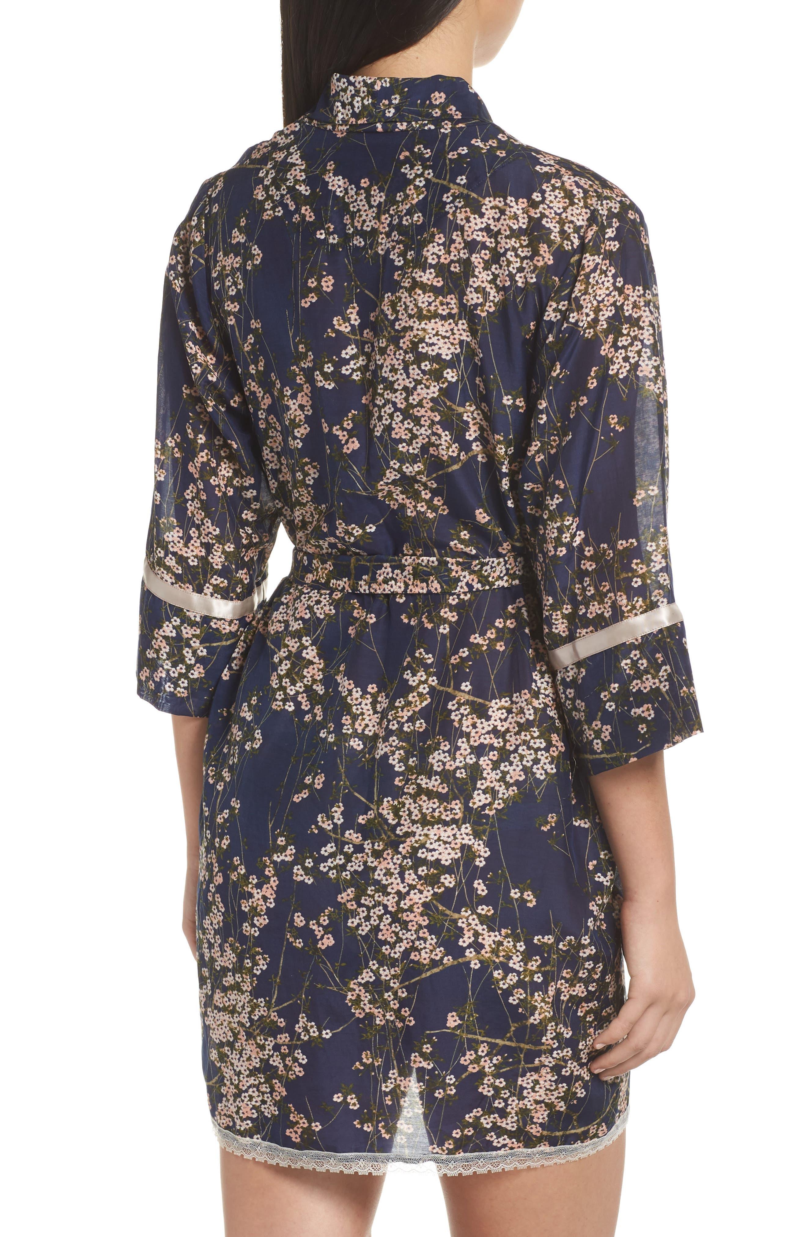 PAPINELLE, Cherry Blossom Short Robe, Alternate thumbnail 2, color, NAVY