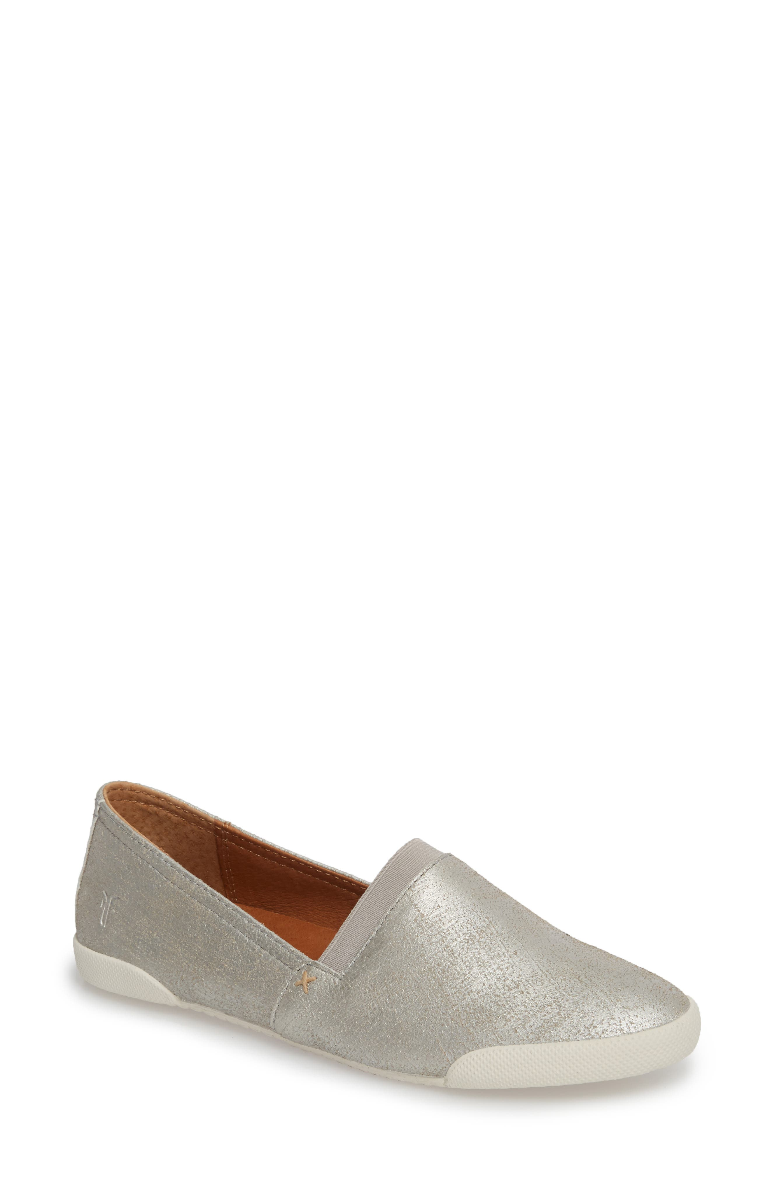 FRYE, 'Melanie' Slip-On, Main thumbnail 1, color, SILVER