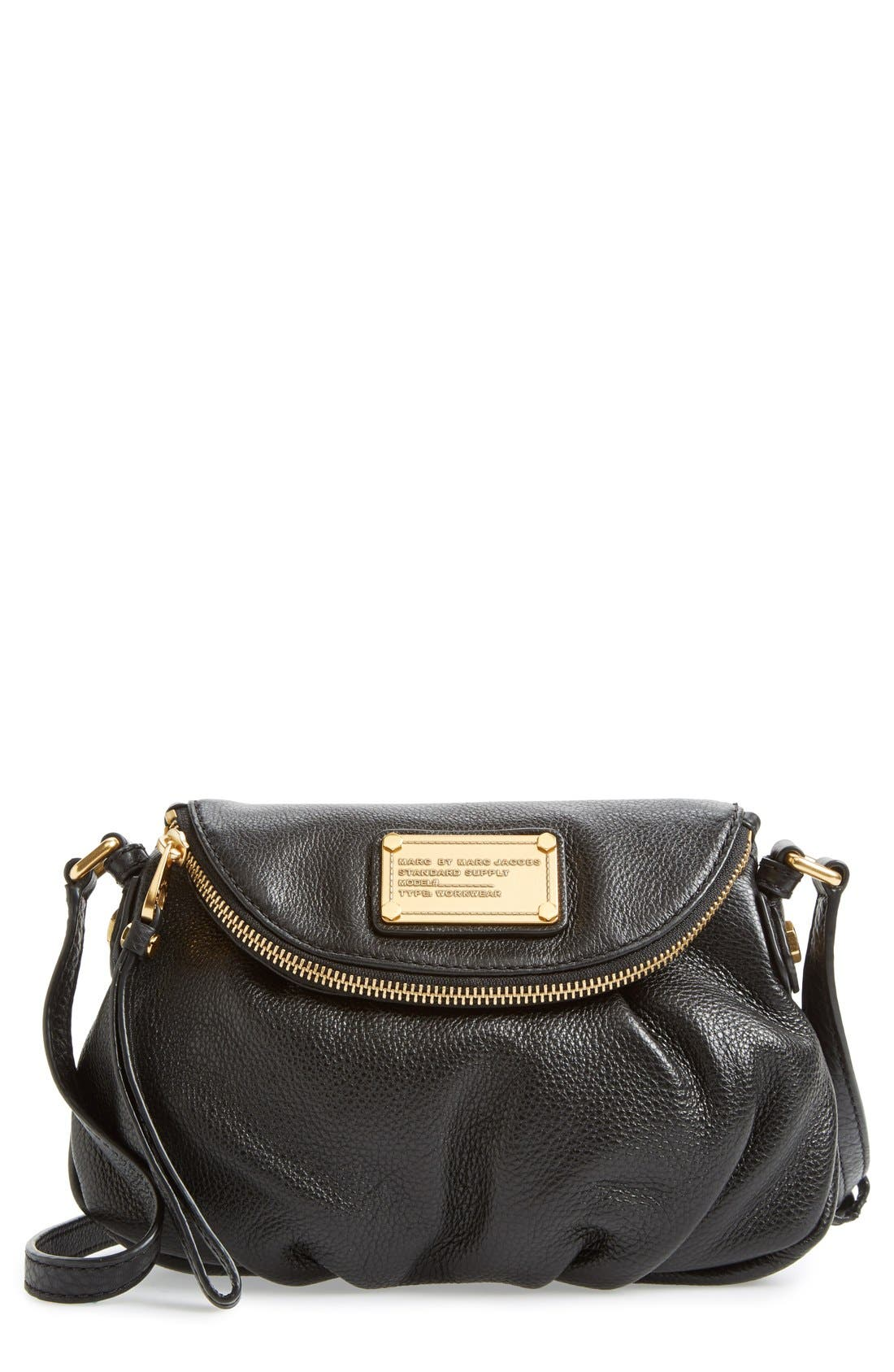 MARC JACOBS, MARC BY MARC JACOBS 'Classic Q Natasha - Mini' Crossbody Flap Bag, Main thumbnail 1, color, 001