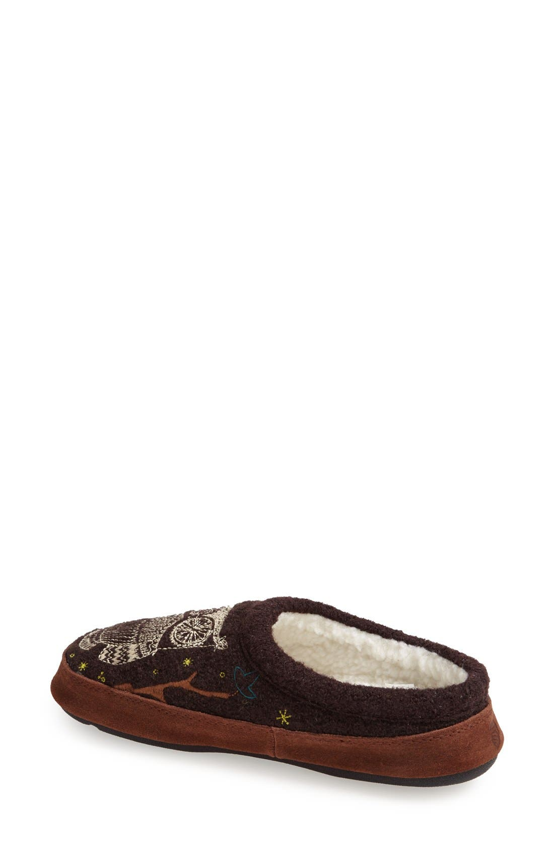 ACORN, 'Forest' Wool Mule Slipper, Alternate thumbnail 3, color, CHOCOLATE