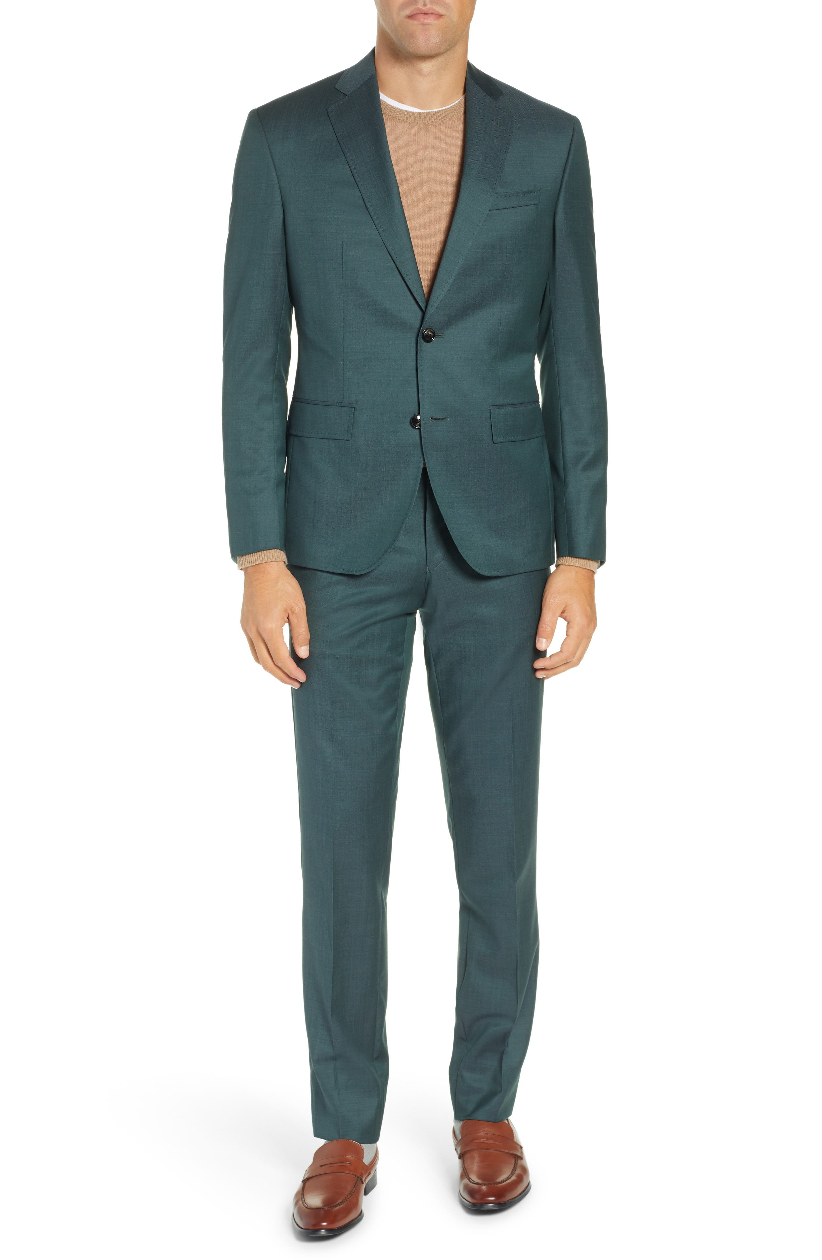 TED BAKER LONDON, Roger Slim Fit Solid Wool Suit, Main thumbnail 1, color, GREEN