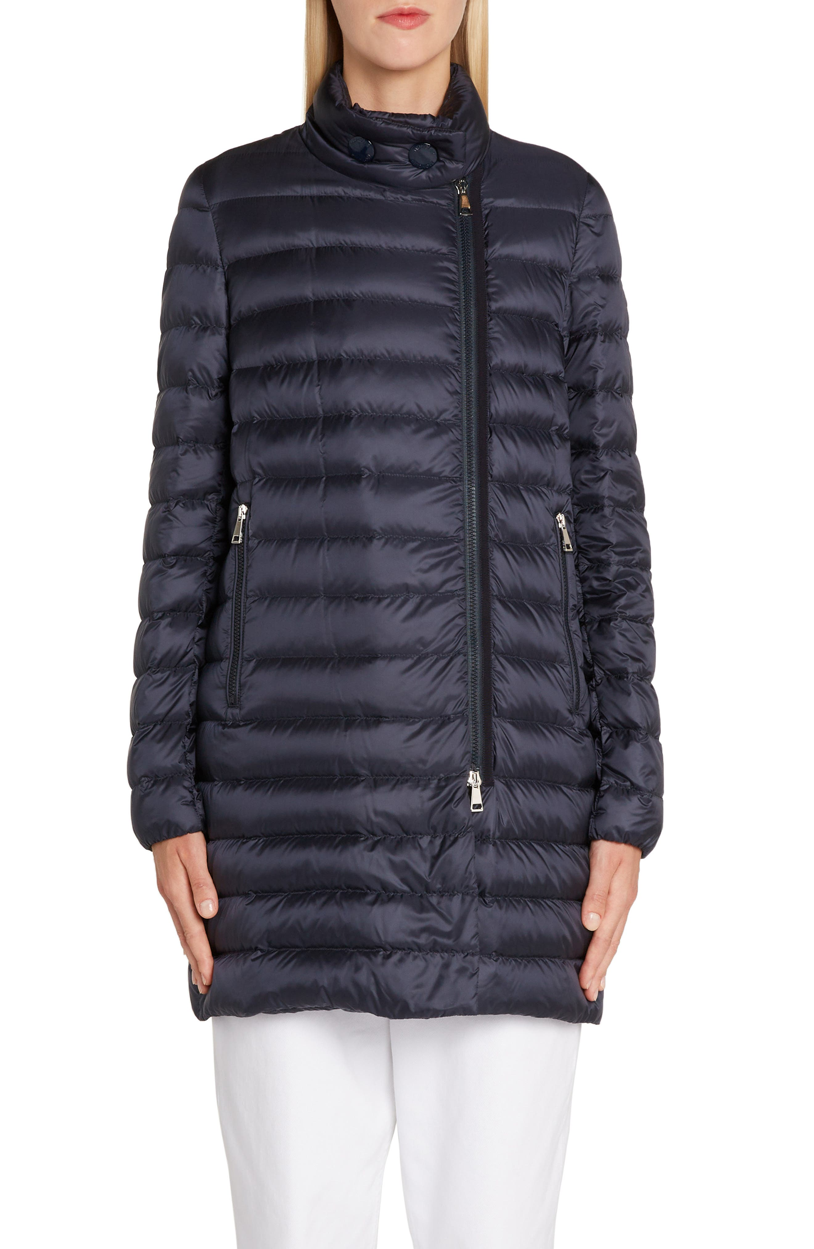 MONCLER, Quilted Down Coat, Alternate thumbnail 2, color, NAVY