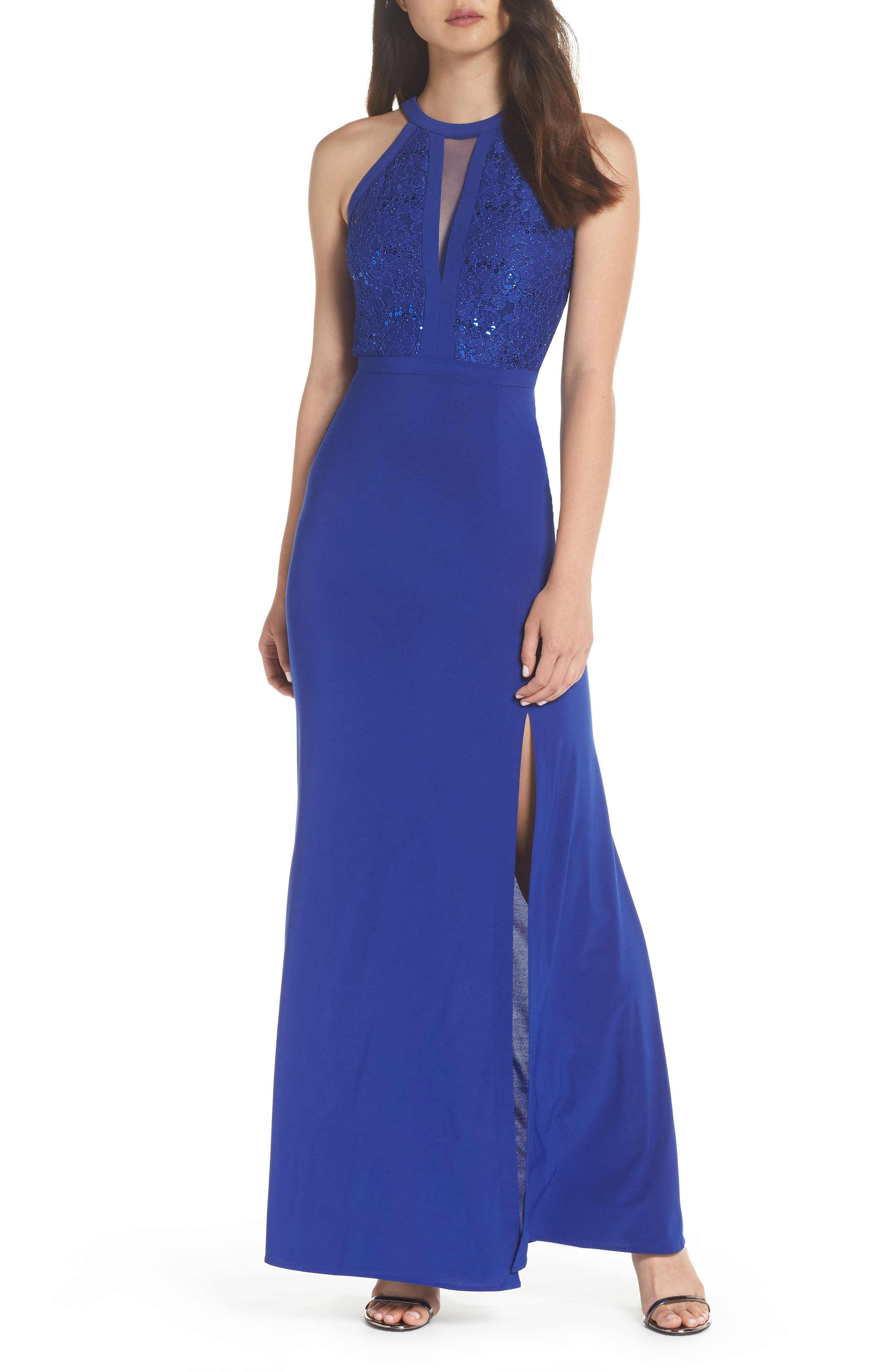 Morgan & Co. Lace & Jersey Gown, /6 - Blue