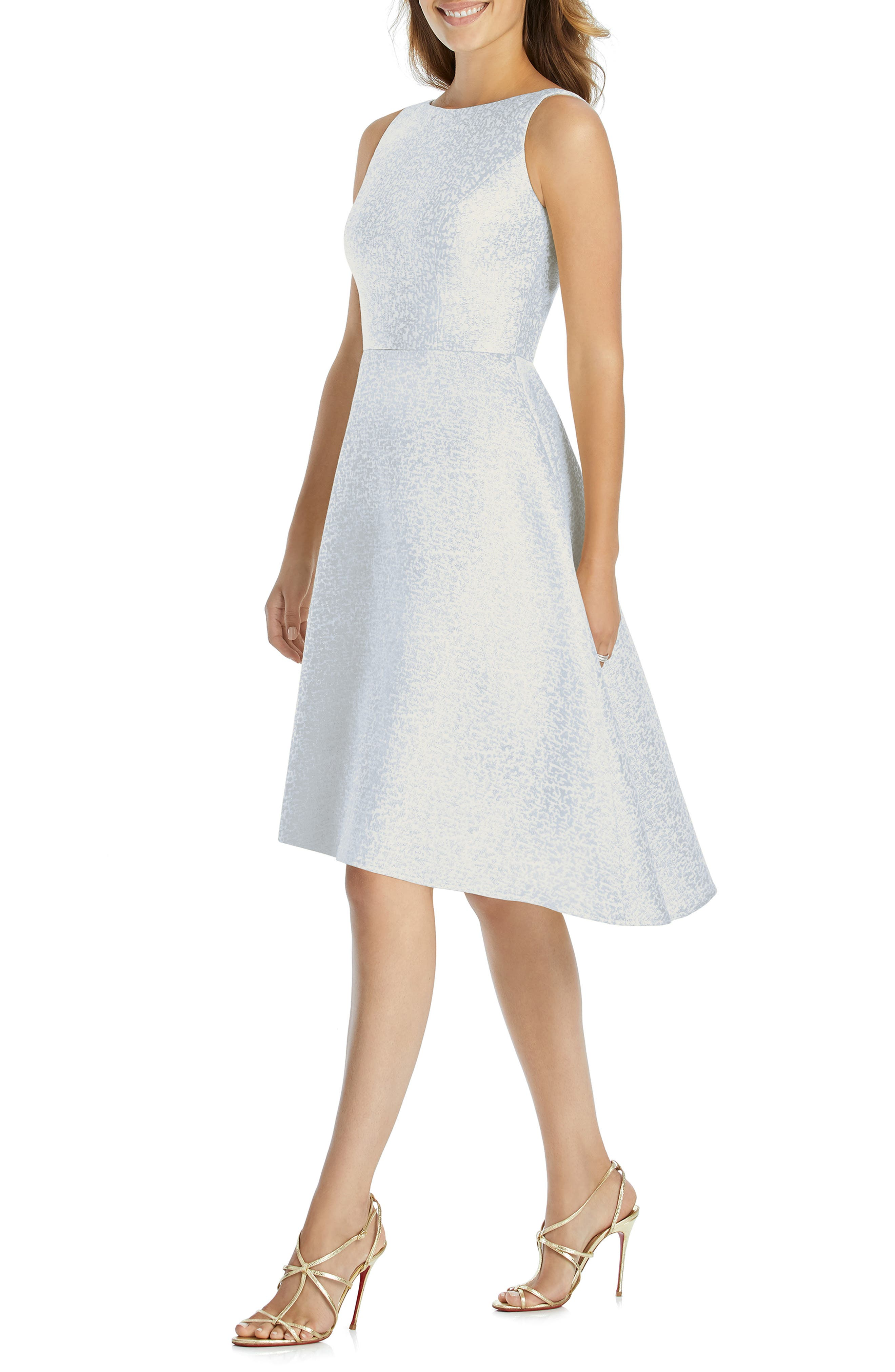 DESSY COLLECTION, Sateen High/Low Cocktail Dress, Main thumbnail 1, color, CLOUDY GOLD