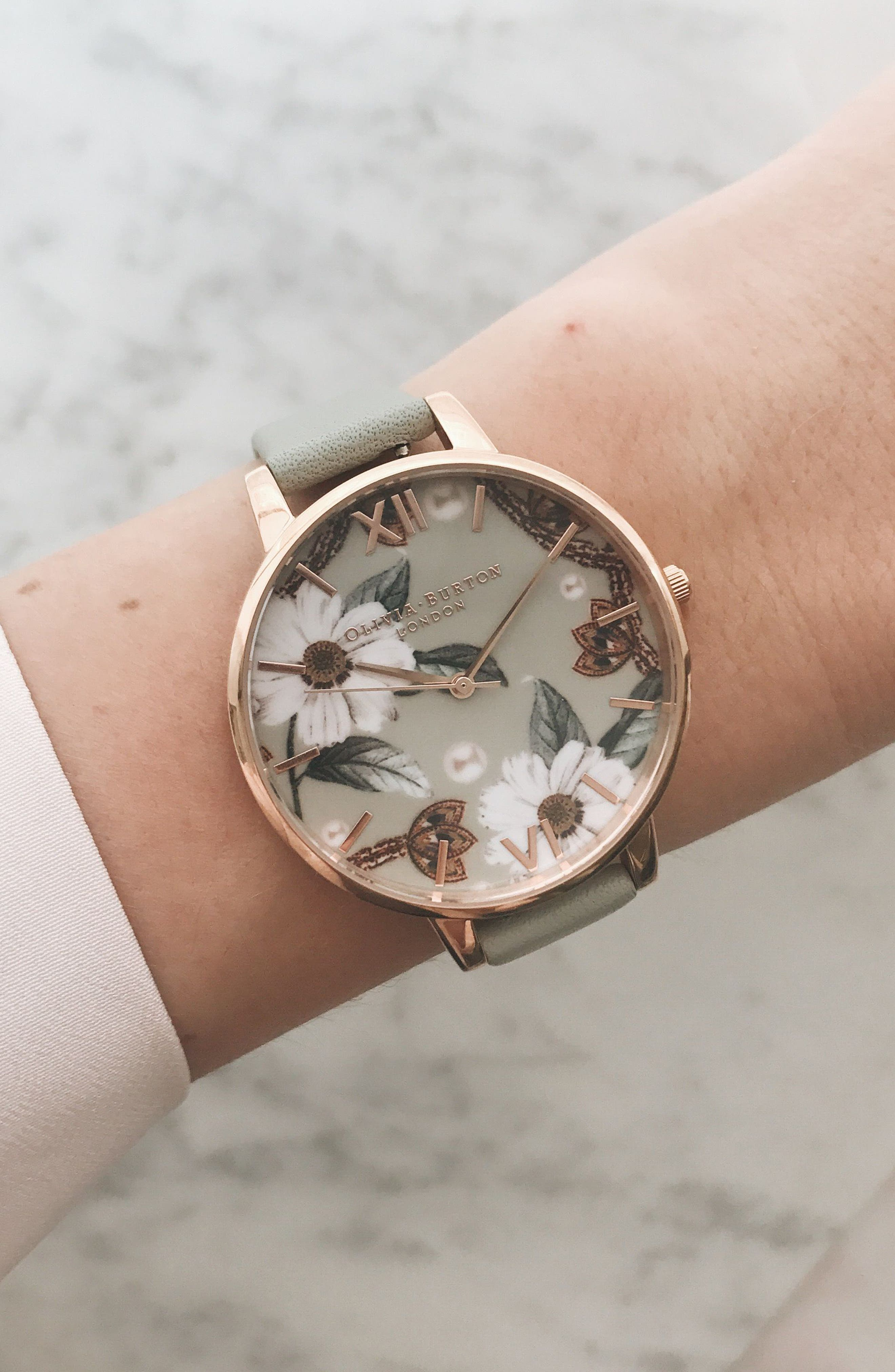 OLIVIA BURTON, Bejewelled Leather Strap Watch, 38mm, Alternate thumbnail 8, color, GREY/ FLORAL/ ROSE GOLD