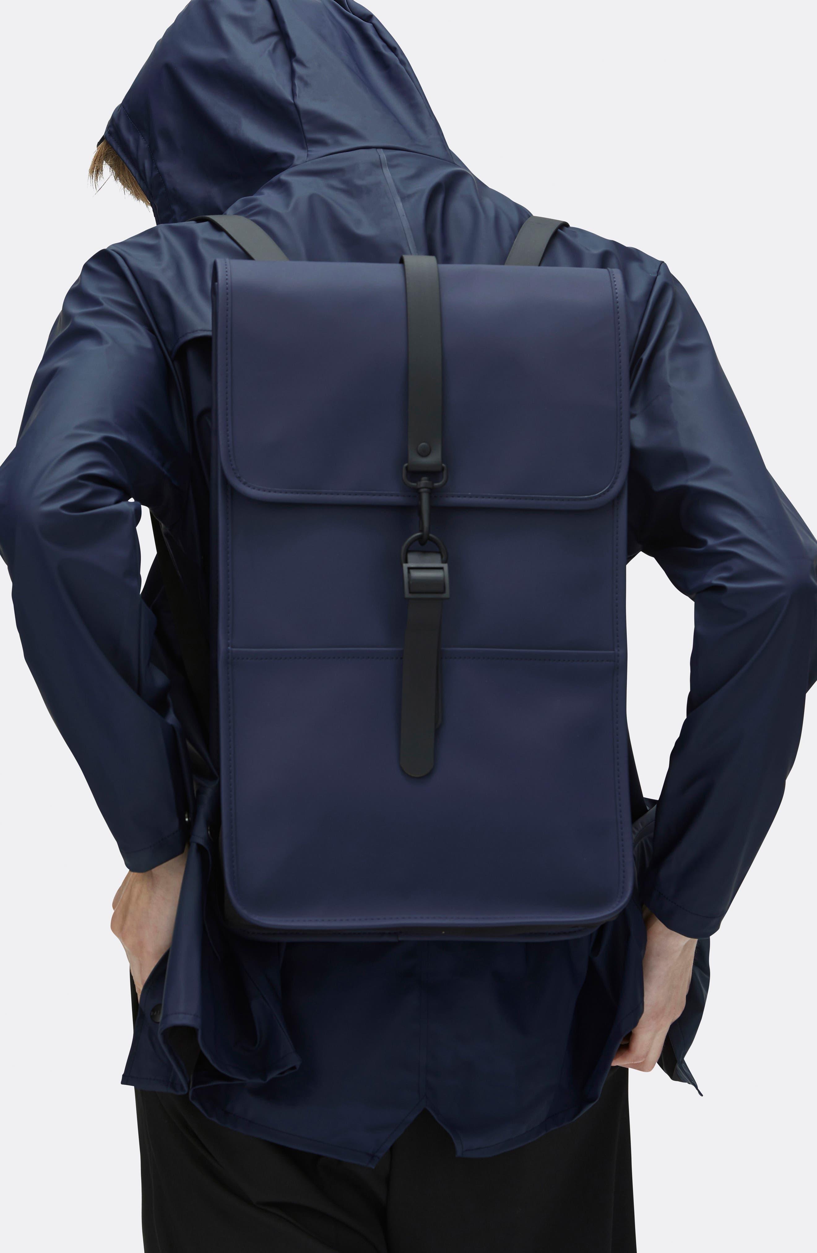 RAINS, Waterproof Backpack, Alternate thumbnail 8, color, BLUE