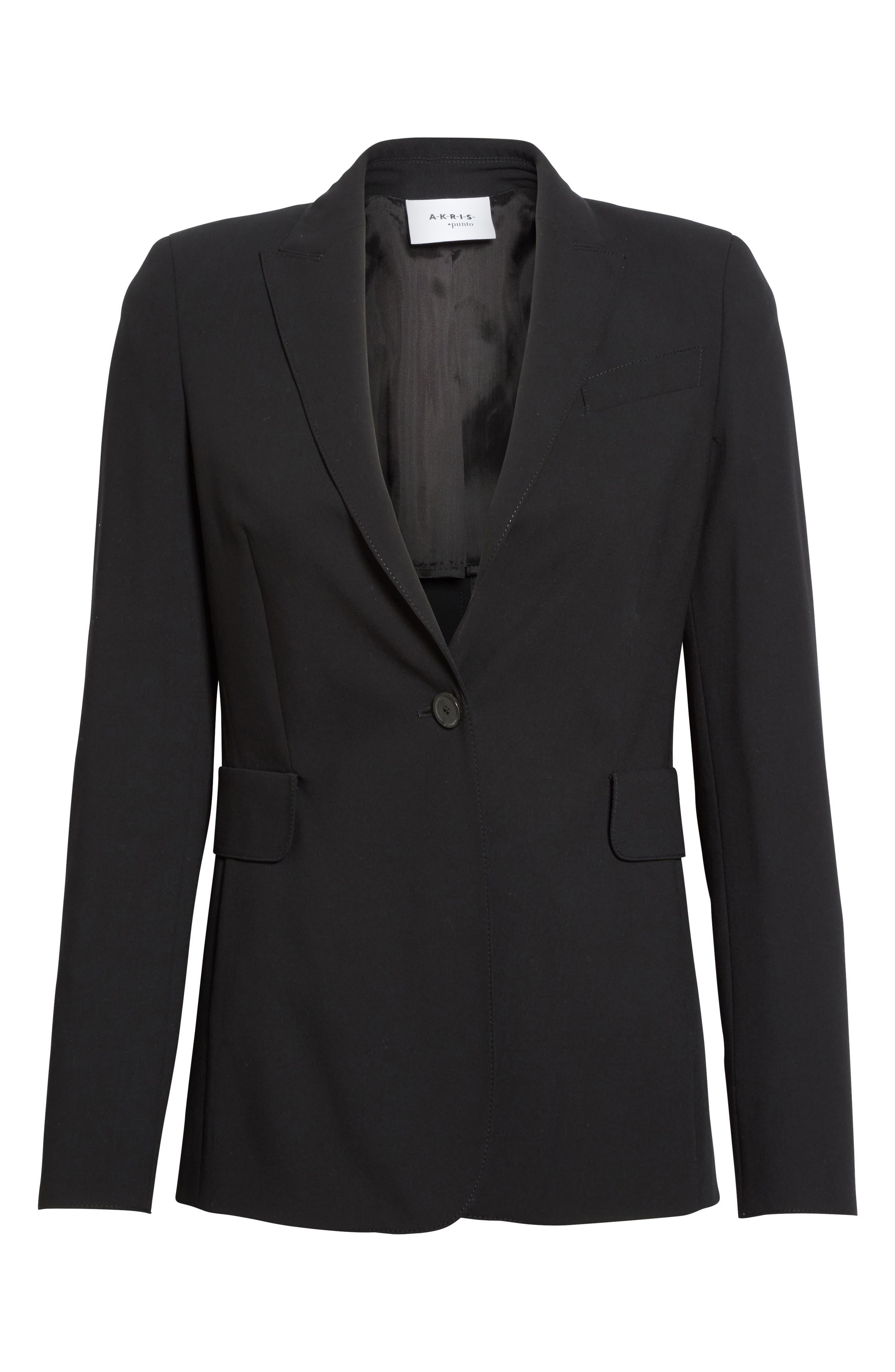 AKRIS PUNTO, Long One-Button Jacket, Alternate thumbnail 6, color, BLACK