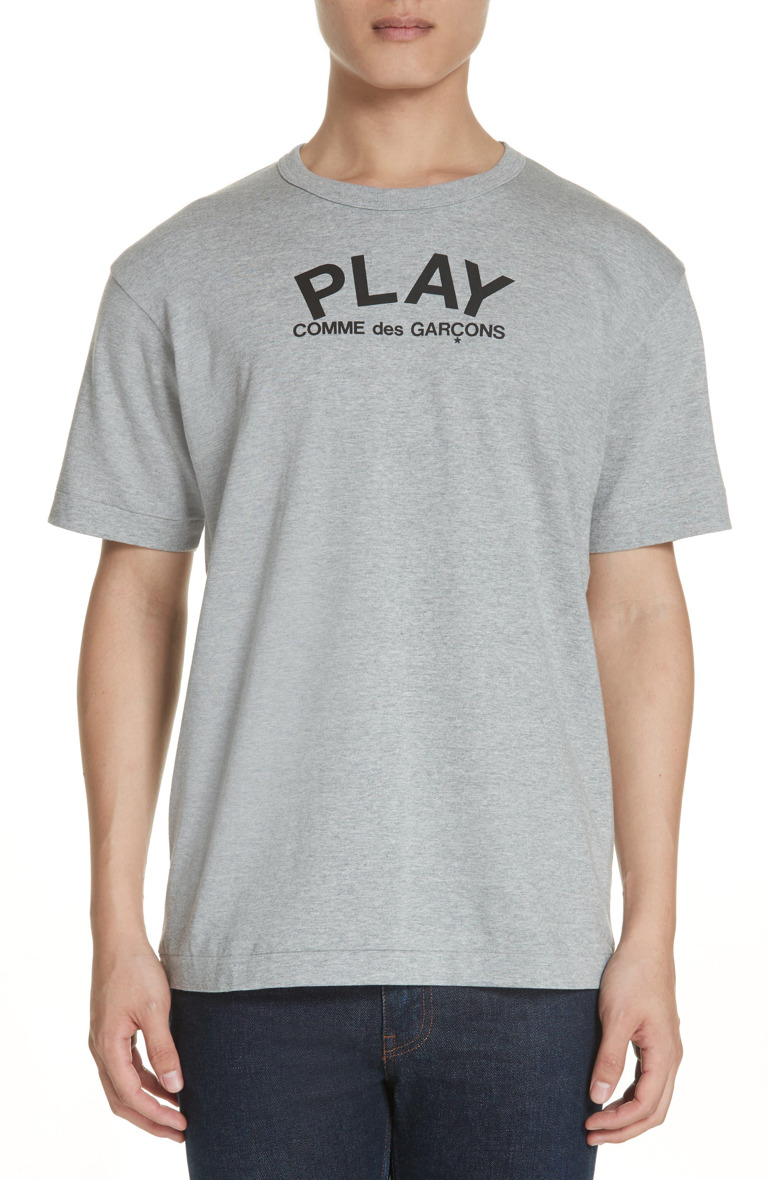 COMME DES GARÇONS PLAY, Logo T-Shirt, Main thumbnail 1, color, GREY