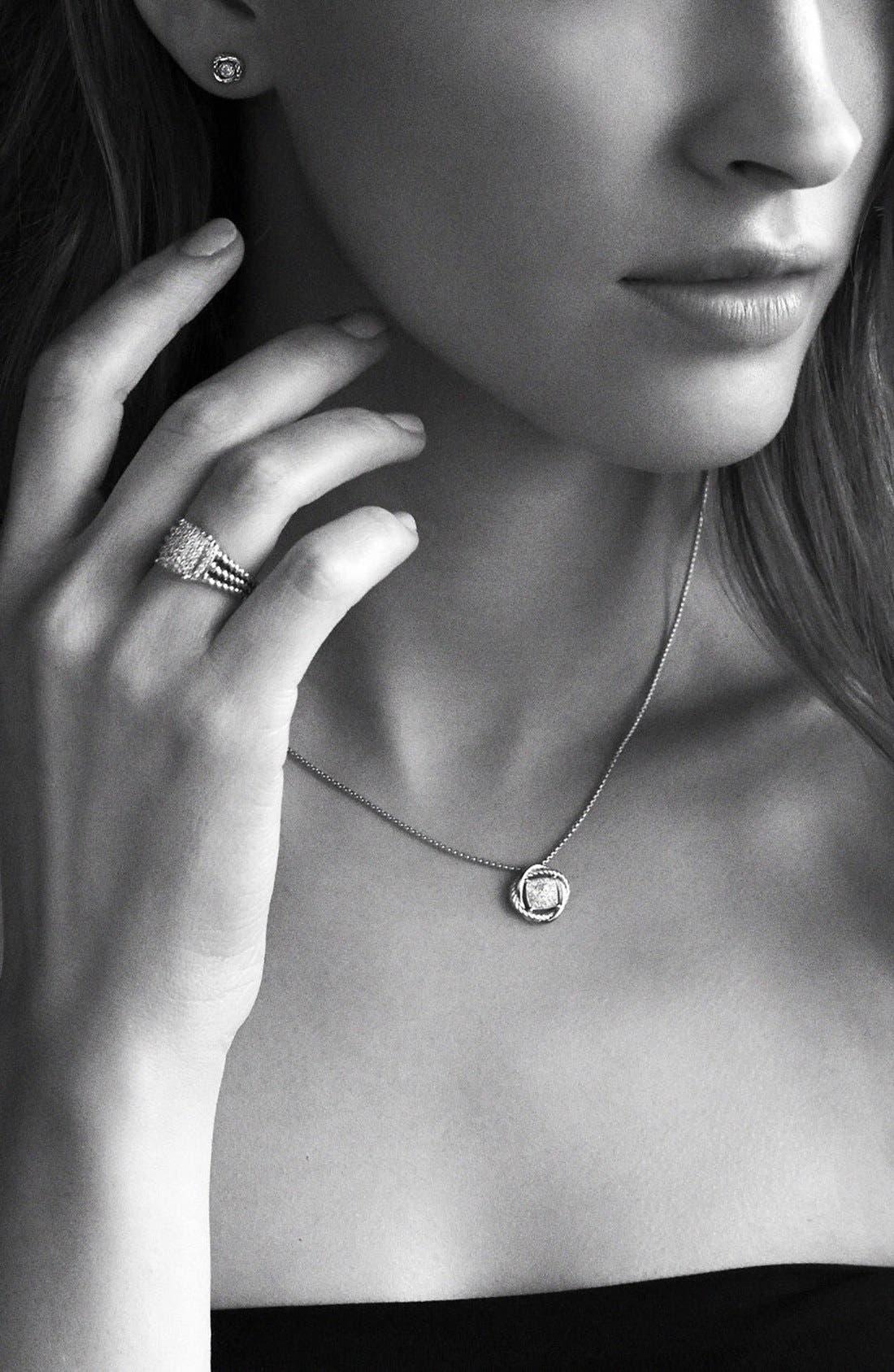 DAVID YURMAN, 'Infinity' Earrings with Diamonds, Alternate thumbnail 4, color, DIAMOND