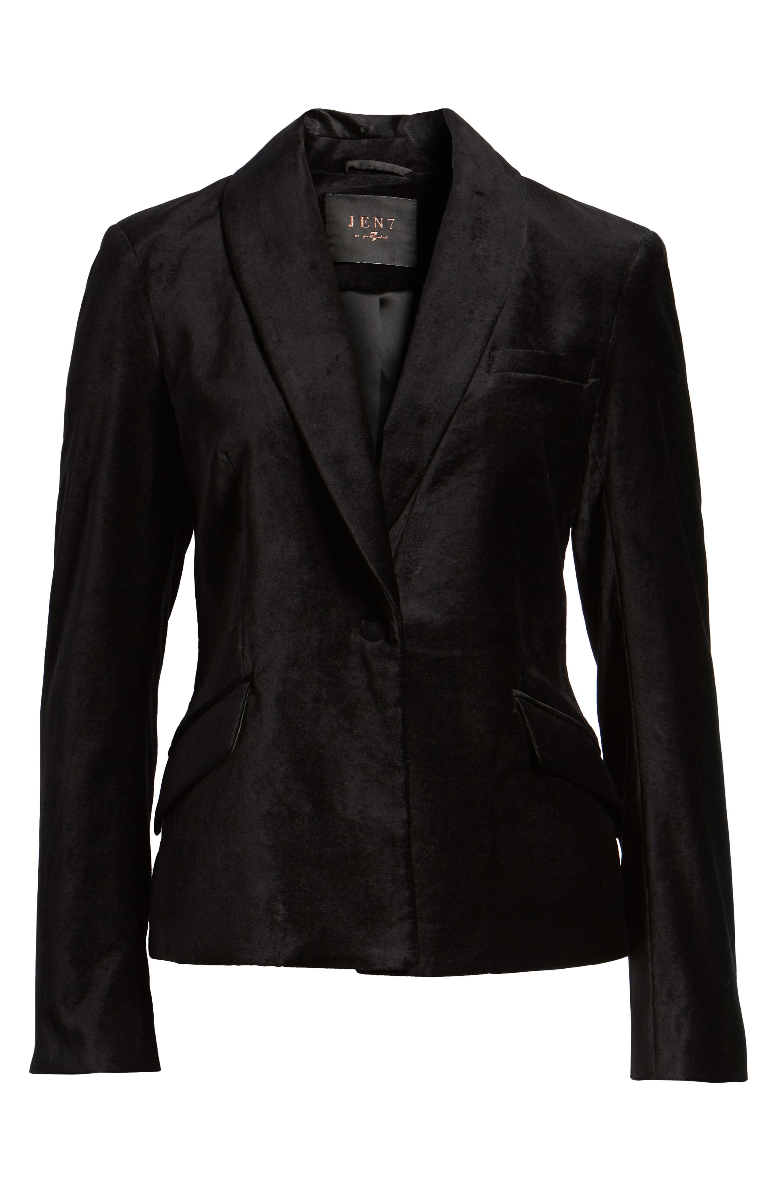JEN7 BY 7 FOR ALL MANKIND, Stretch Cotton Velvet Blazer, Alternate thumbnail 6, color, BLACK