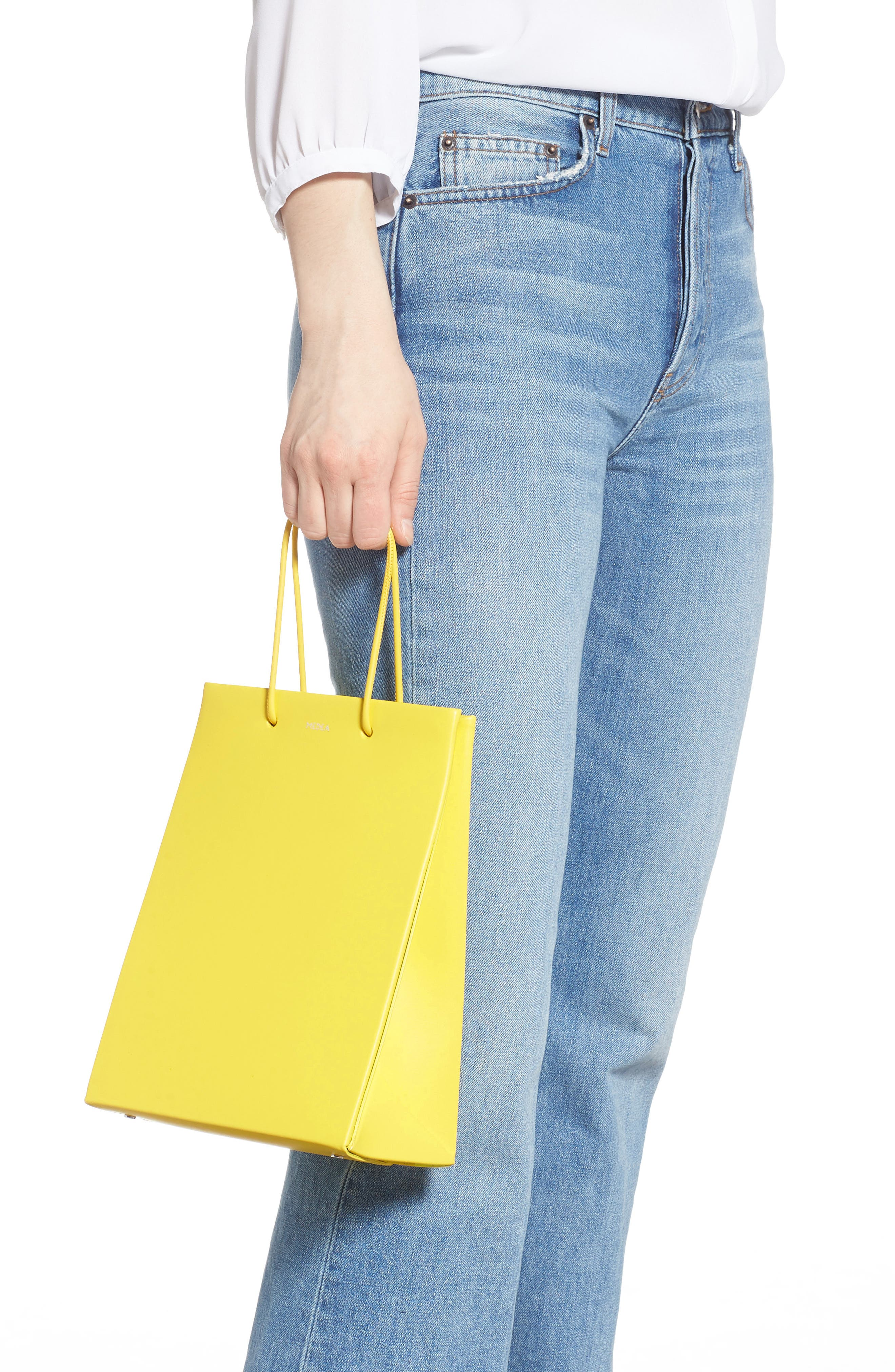 MEDEA, Prima Tall Calfskin Leather Bag, Alternate thumbnail 2, color, YELLOW