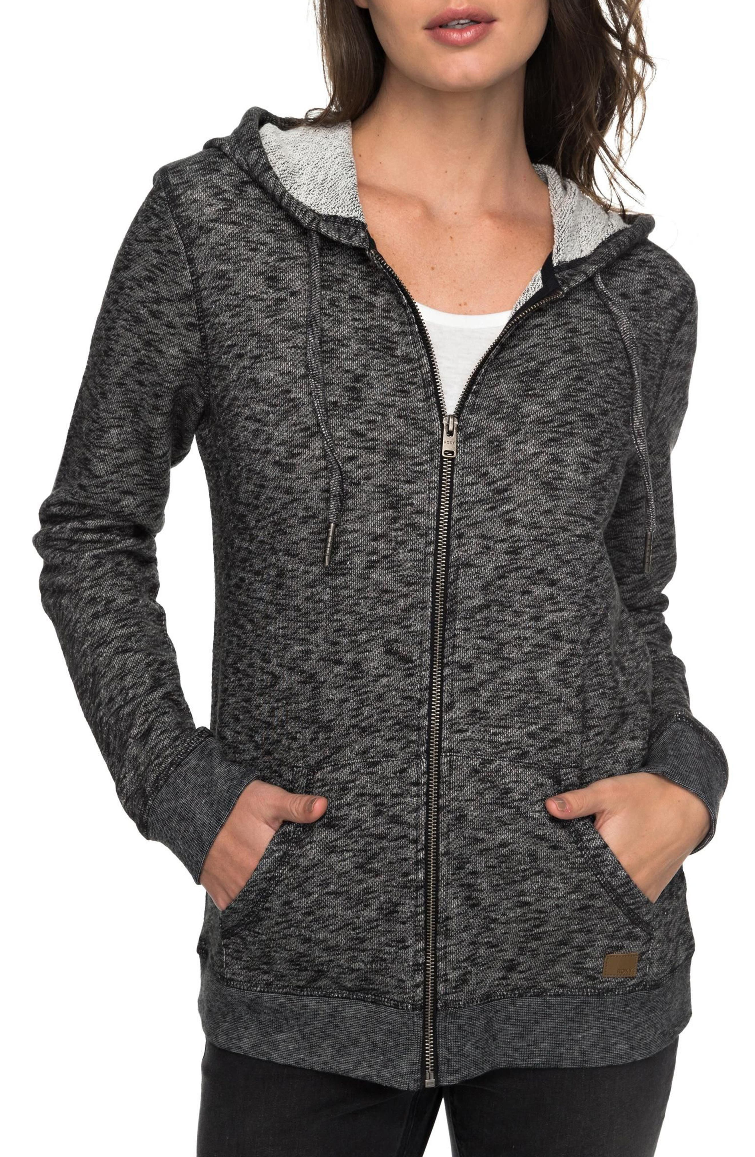 ROXY, Trippin Hoodie, Main thumbnail 1, color, ANTHRACITE HEATHER