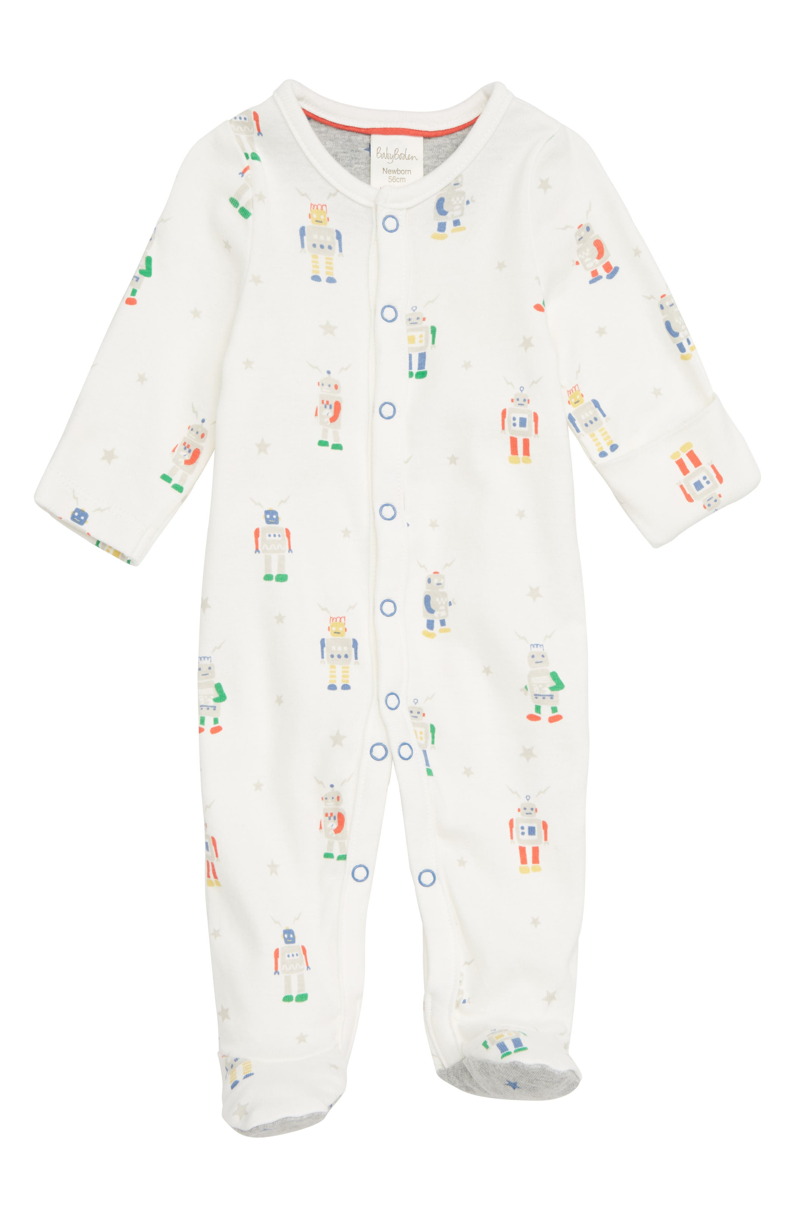 MINI BODEN, Robot Print Fitted One-Piece Footie Pajamas, Main thumbnail 1, color, MULTI ROBOTS