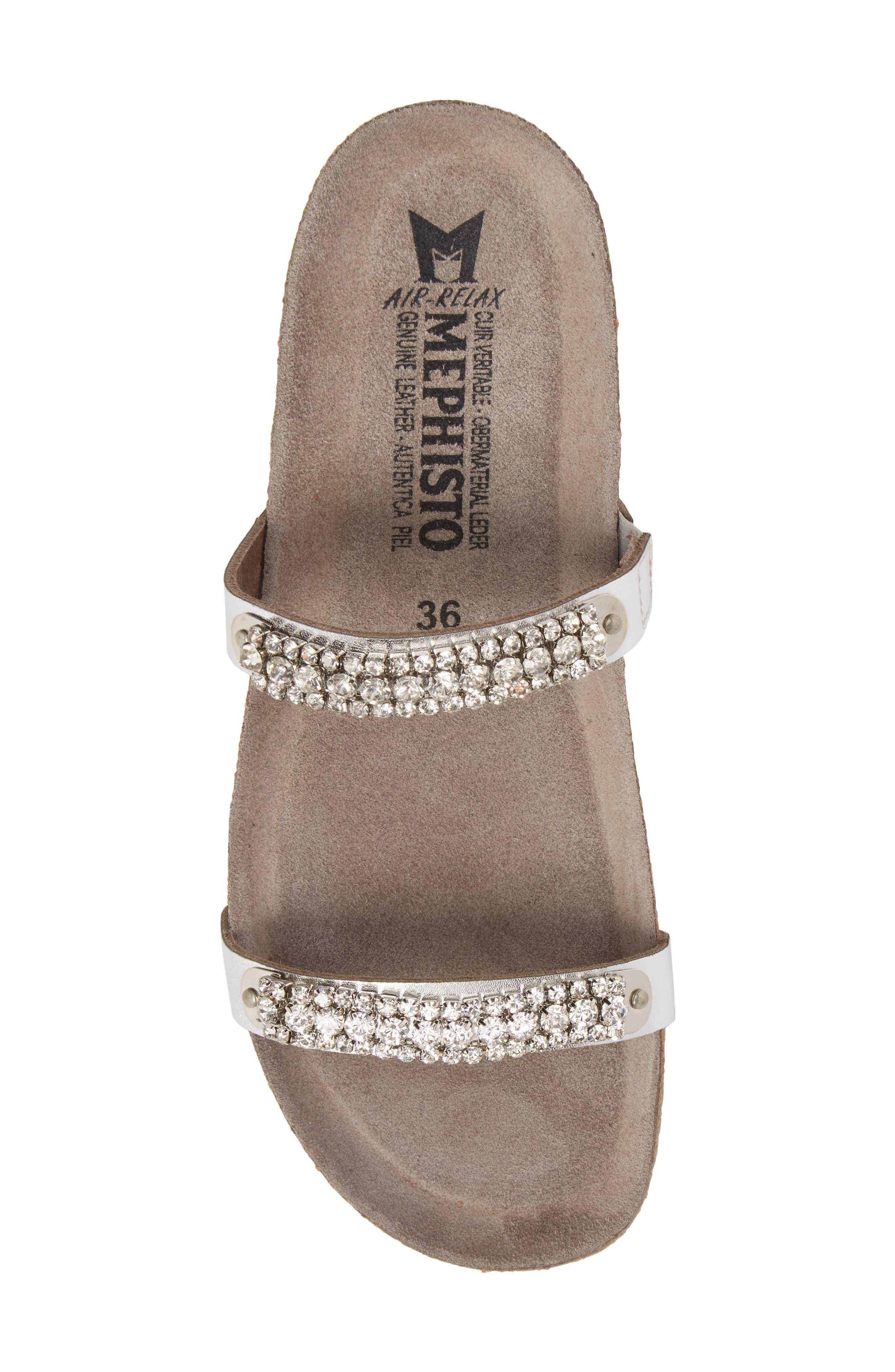 MEPHISTO, 'Ivana' Crystal Embellished Slide Sandal, Alternate thumbnail 5, color, NICKEL LEATHER
