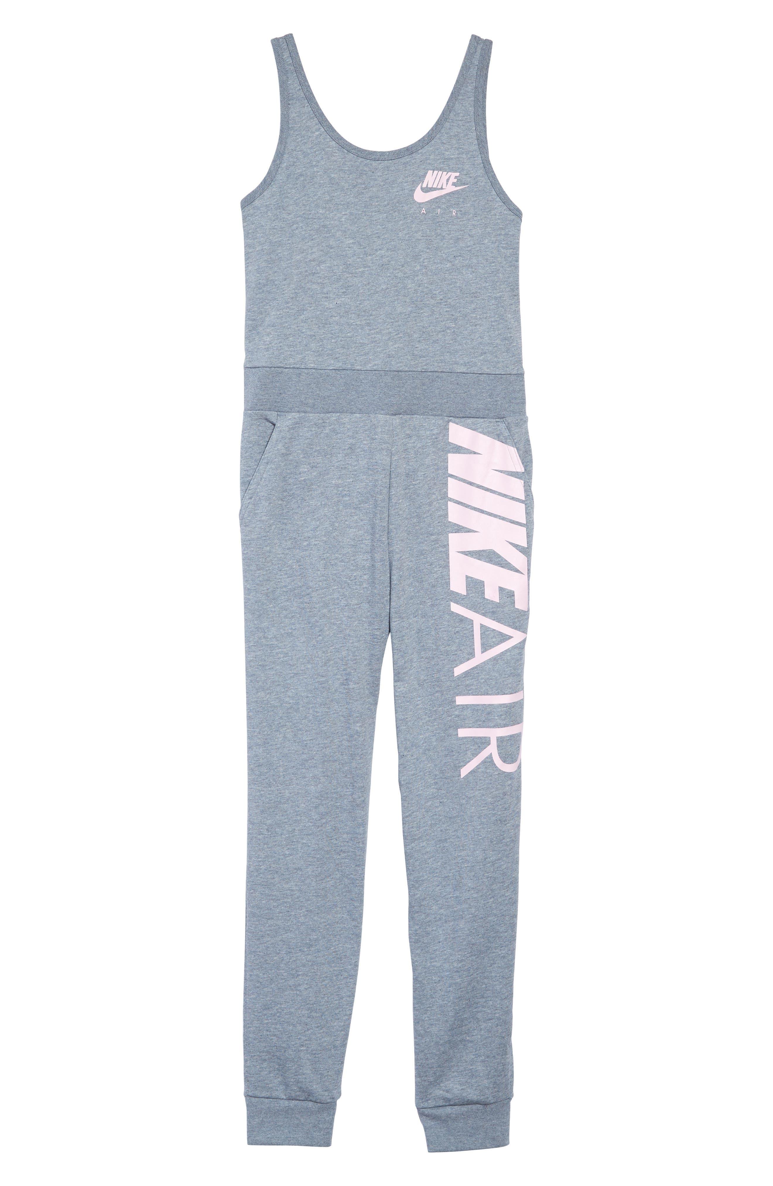 NIKE, Air Sleeveless Jumpsuit, Main thumbnail 1, color, ASHEN SLATE/ HTR/ PINK FOAM