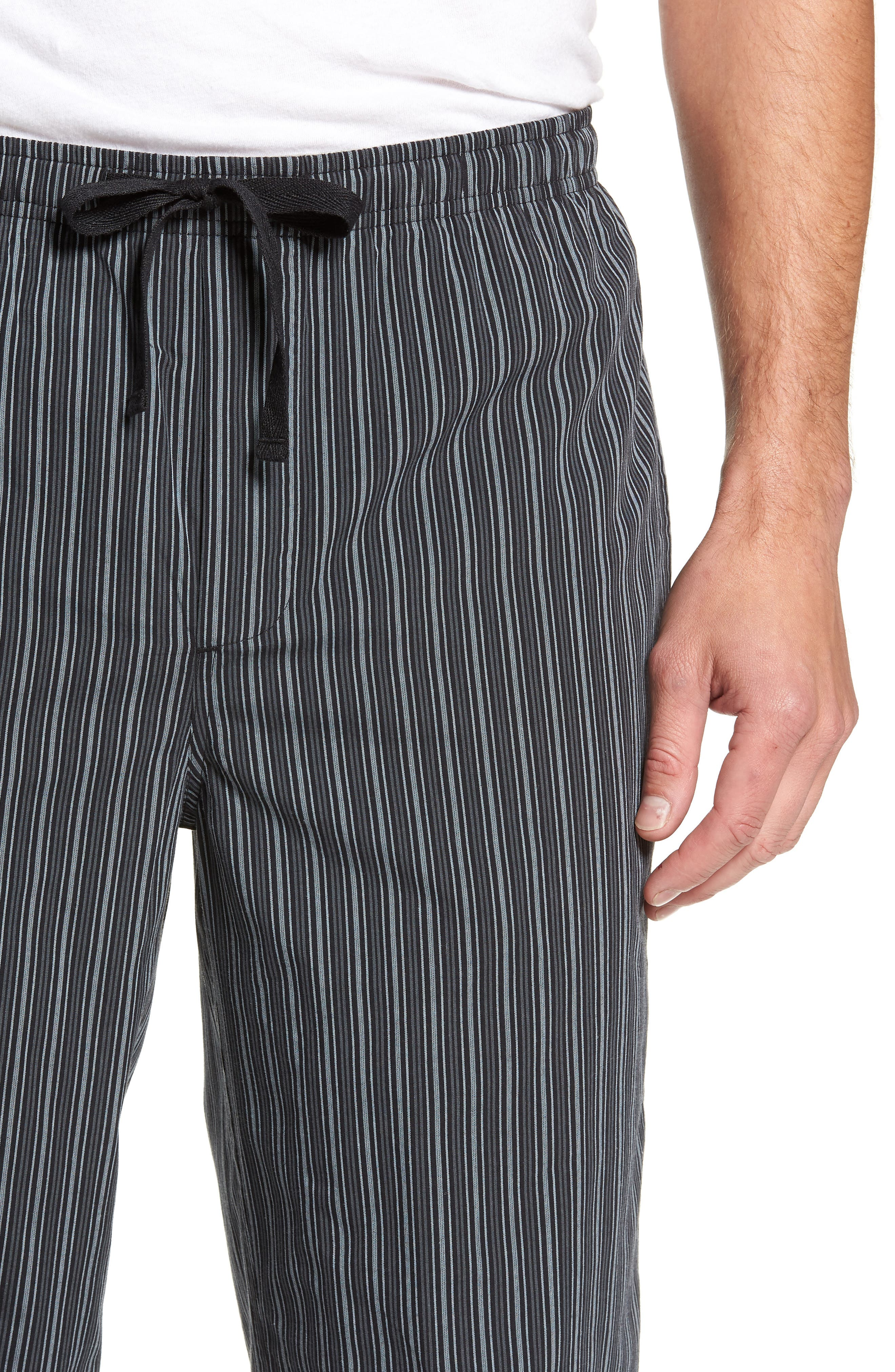 NORDSTROM MEN'S SHOP, Poplin Pajama Pants, Alternate thumbnail 4, color, GREY- BLACK STRIPE