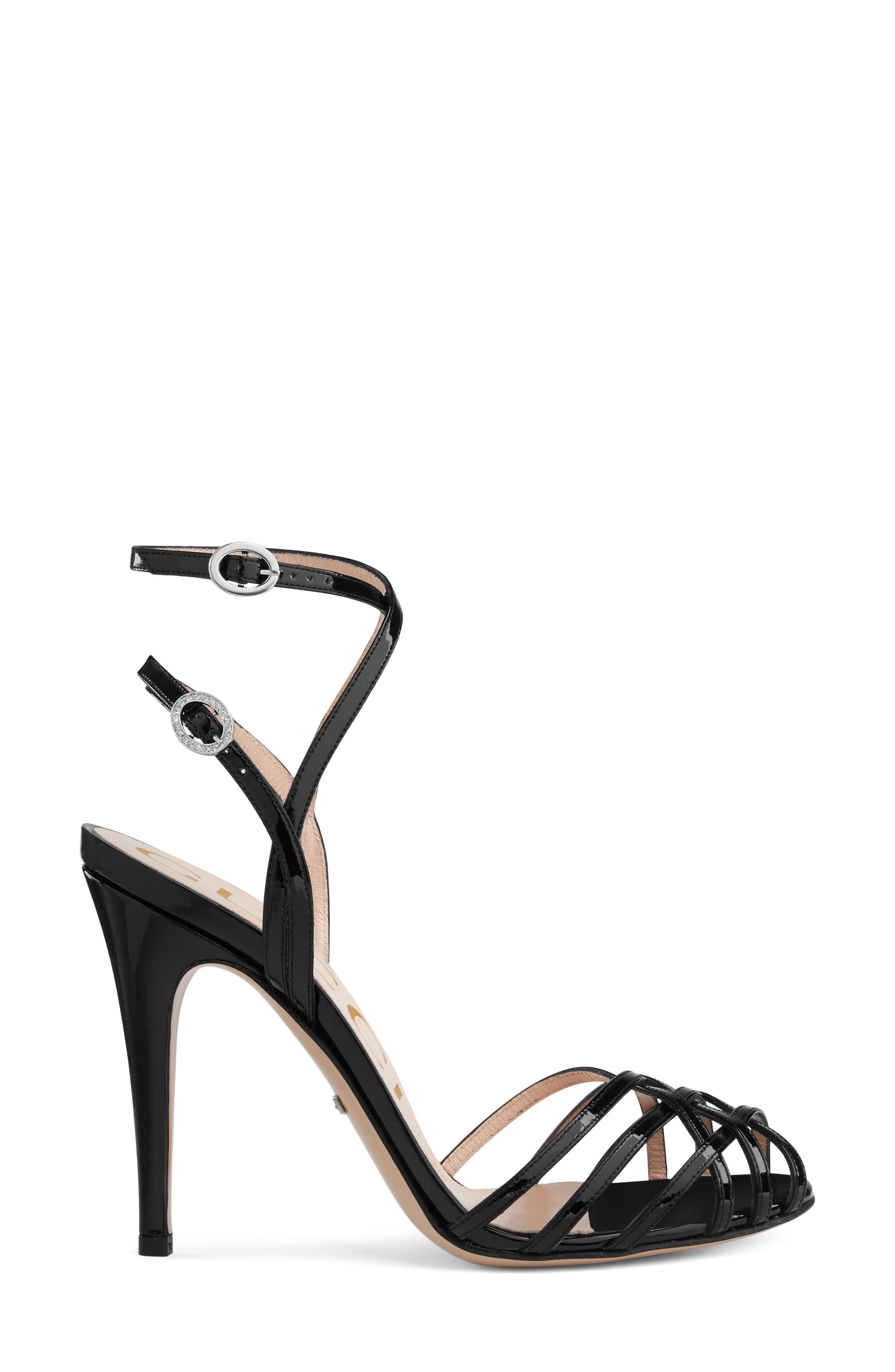 GUCCI, Draconia Ankle Strap Sandal, Alternate thumbnail 3, color, BLACK