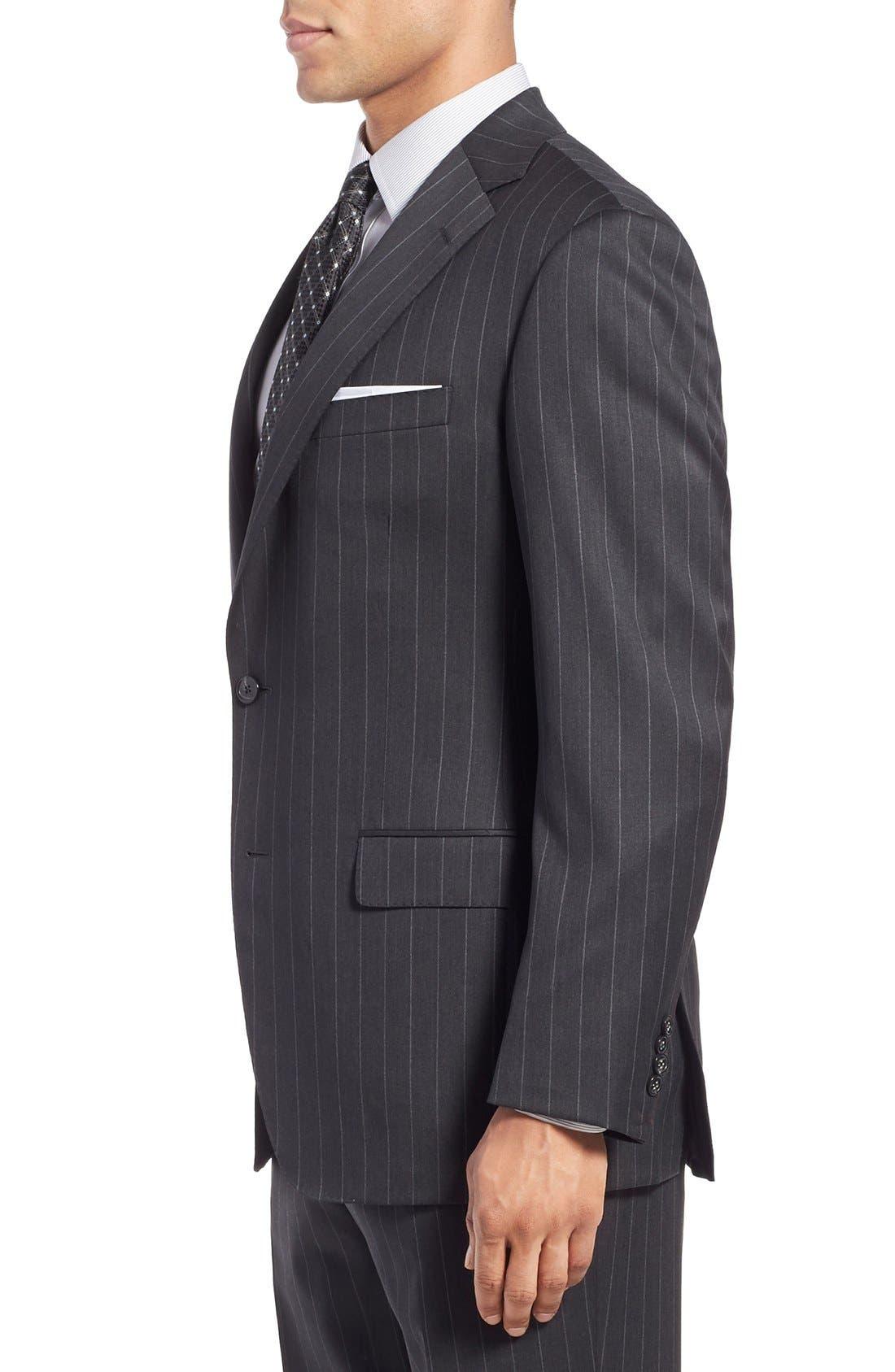 SAMUELSOHN, Classic Fit Stripe Wool Suit, Alternate thumbnail 5, color, 025