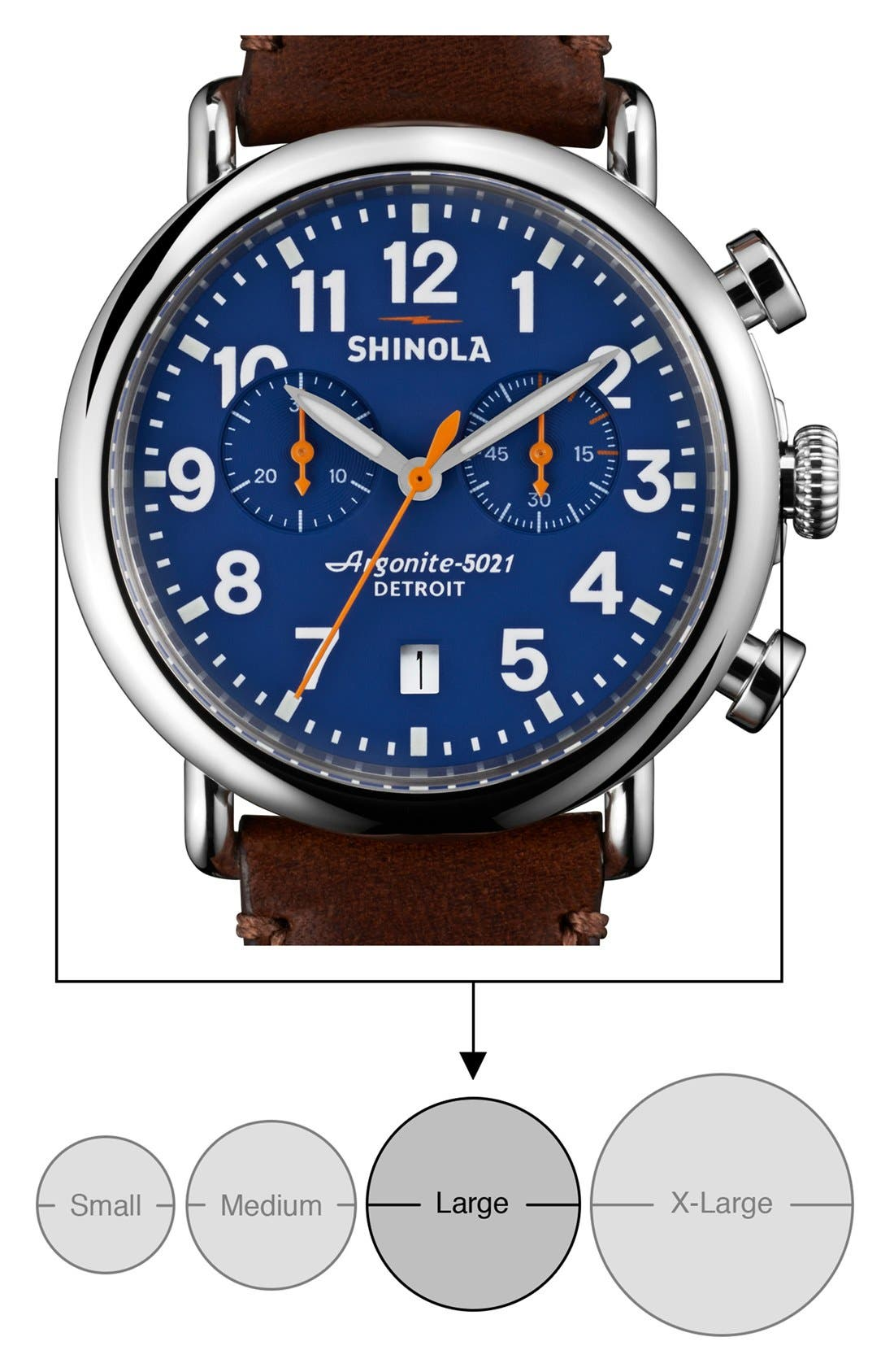 SHINOLA, 'The Runwell Chrono' Leather Strap Watch, 41mm, Alternate thumbnail 6, color, DARK BROWN/ BLUE