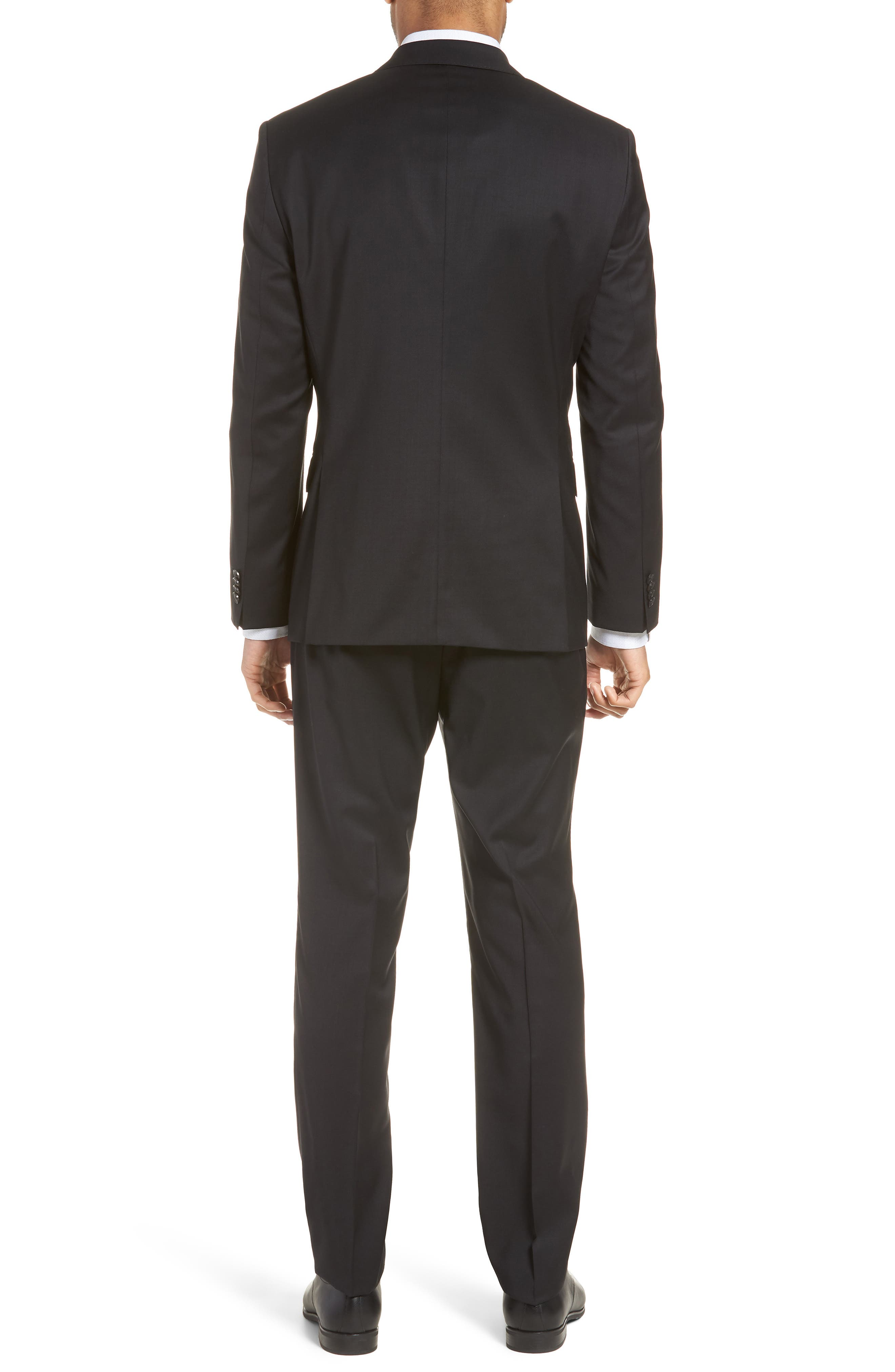 BOSS, Johnstons/Lenon Classic Fit Solid Wool Suit, Alternate thumbnail 2, color, BLACK