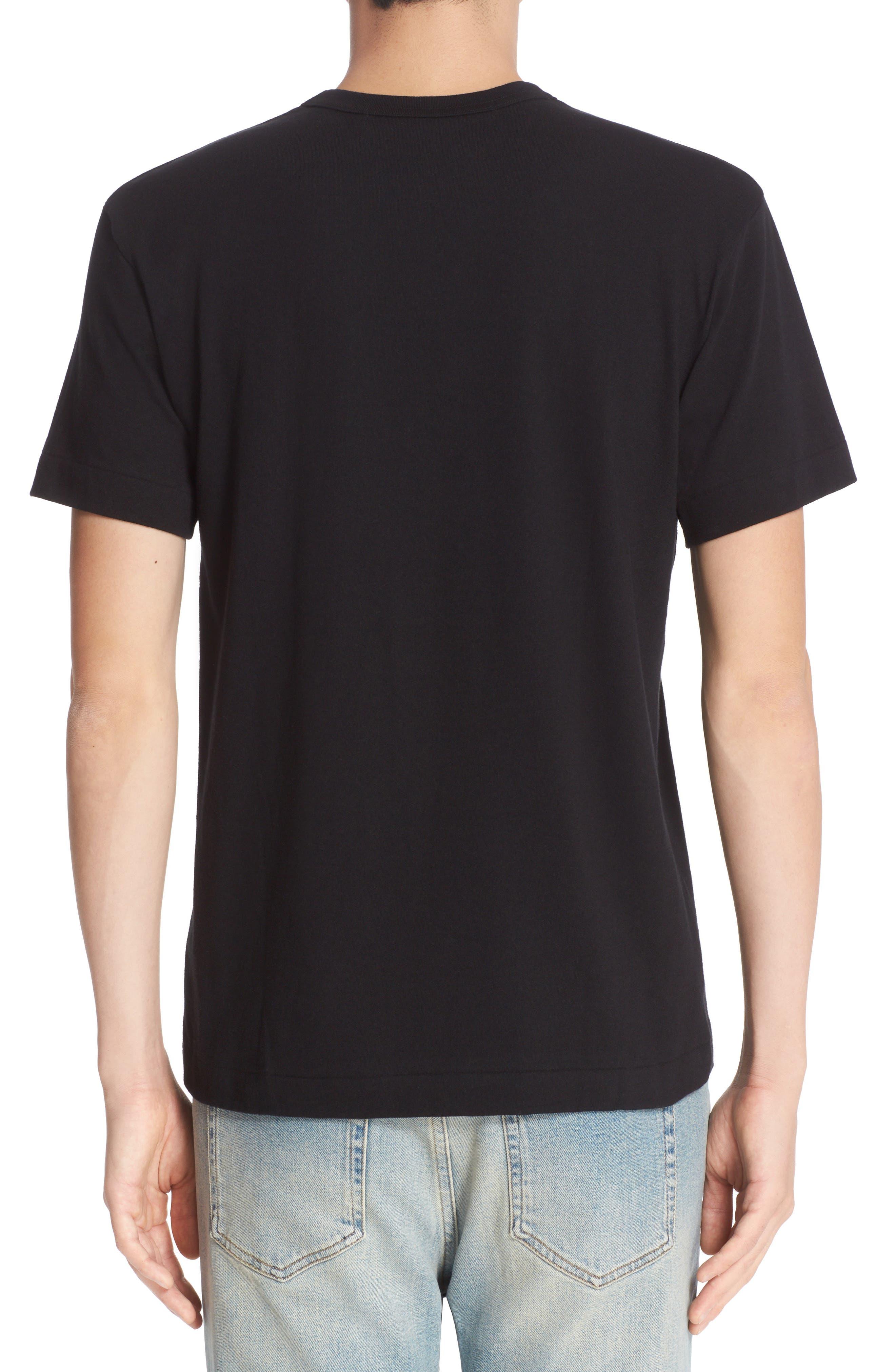 COMME DES GARÇONS PLAY, Stretch Face Heart T-Shirt, Alternate thumbnail 2, color, BLACK