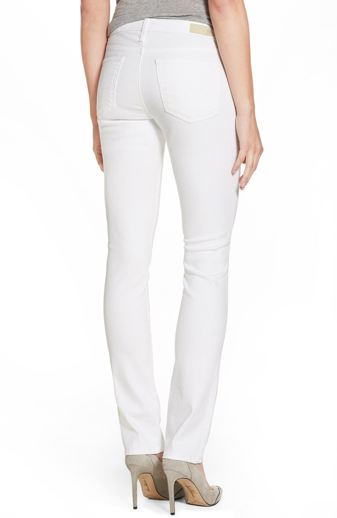 AG, 'Harper' Slim Straight Leg Jeans, Alternate thumbnail 4, color, WHITE