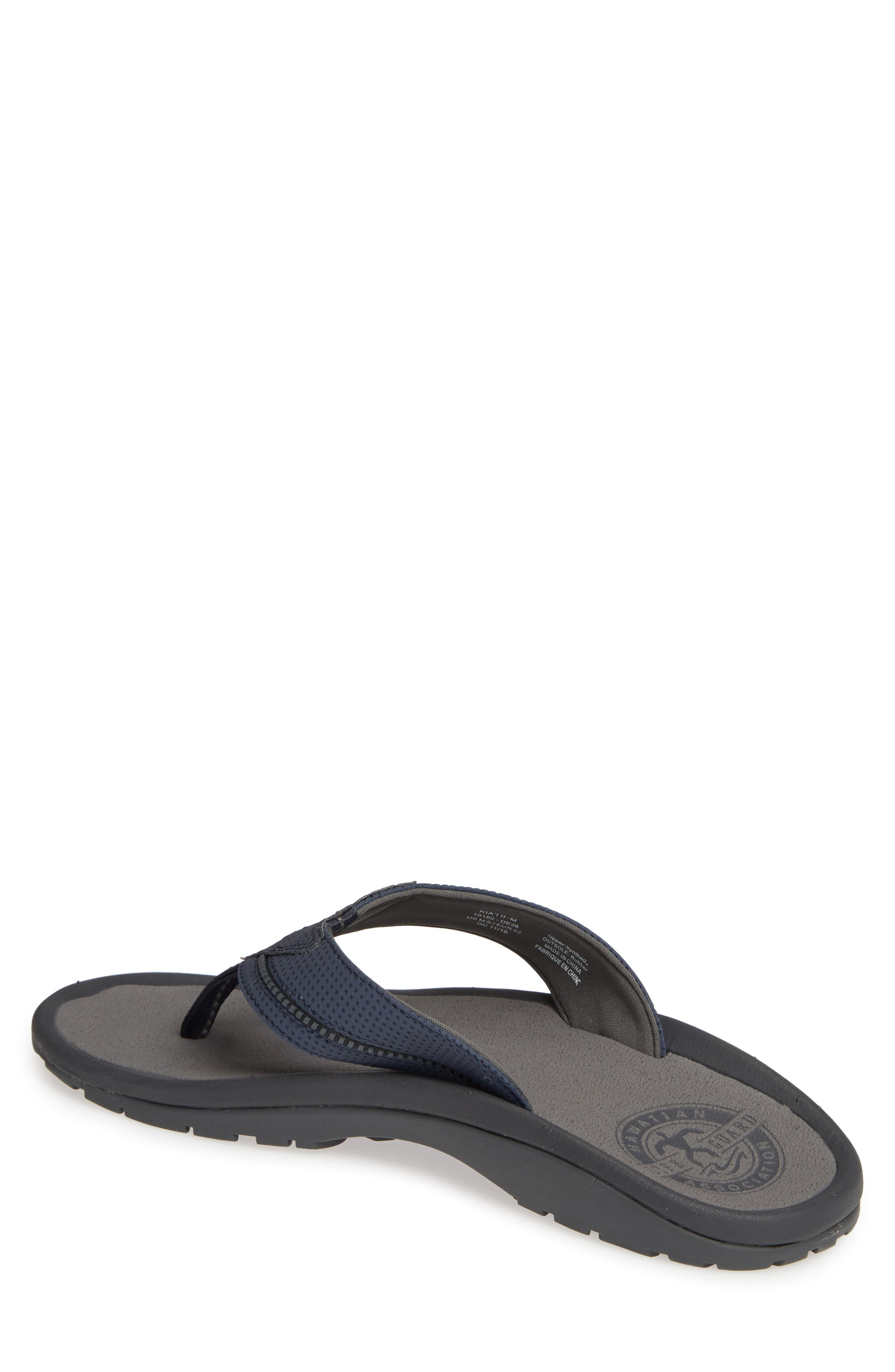 OLUKAI, 'Kia'i II' Flip Flop, Alternate thumbnail 2, color, TRENCH BLUE/ CHARCOAL