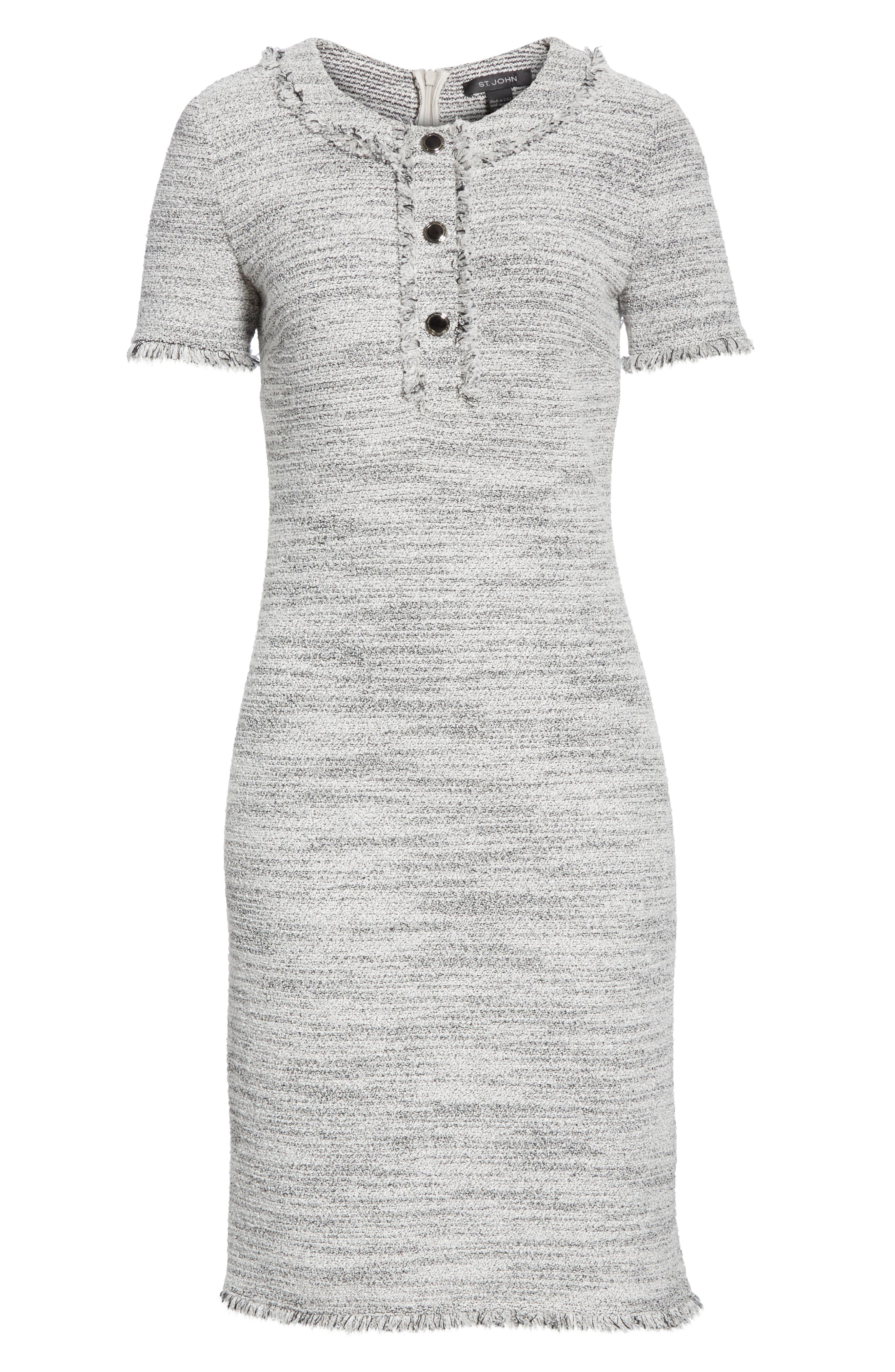 ST. JOHN COLLECTION, Eaton Place Tweed Knit Dress, Alternate thumbnail 7, color, CAVIAR/ CREAM