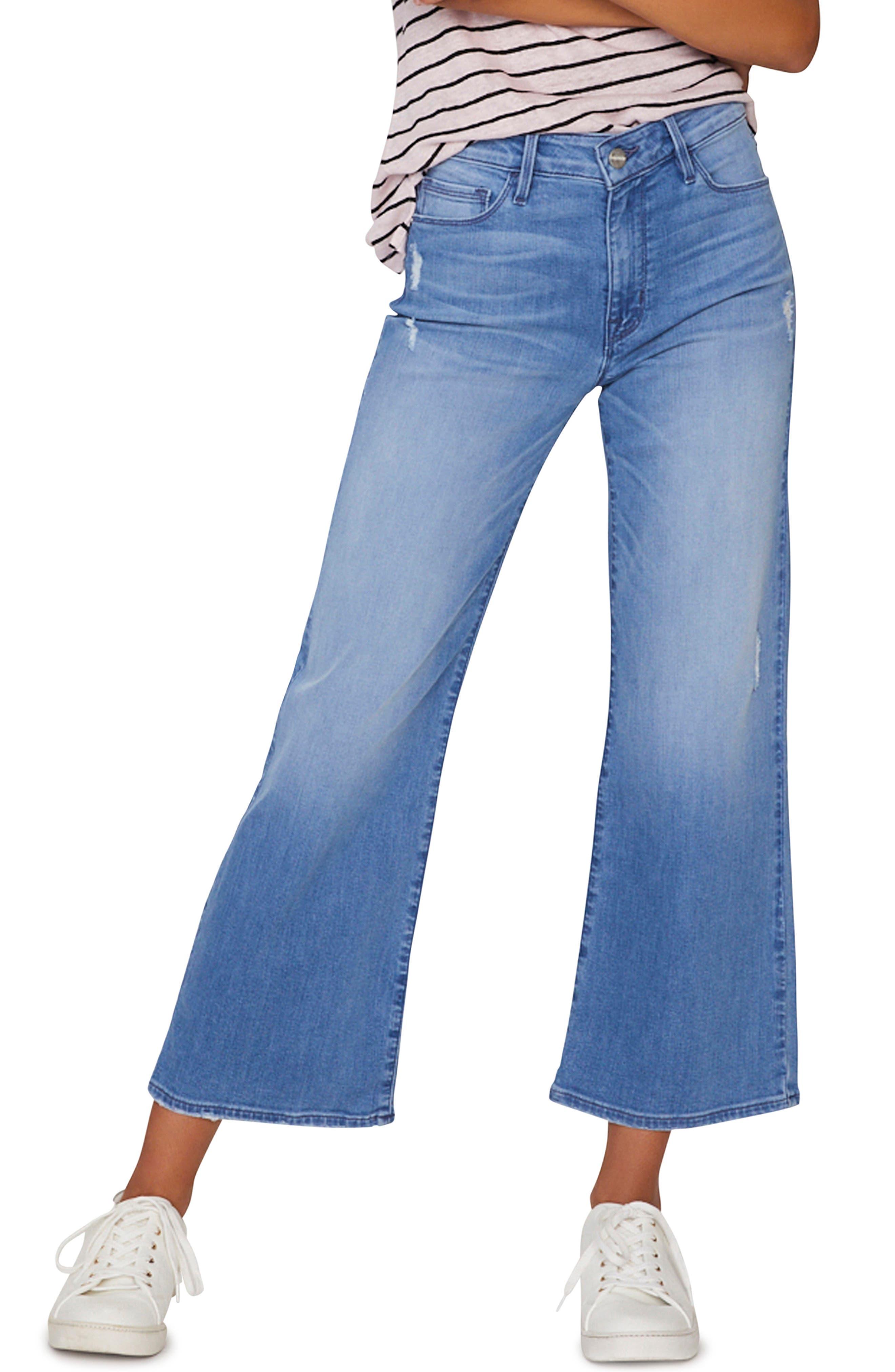 SANCTUARY Non Comformist Wide Leg Crop Jeans, Main, color, SOLANO BLUE