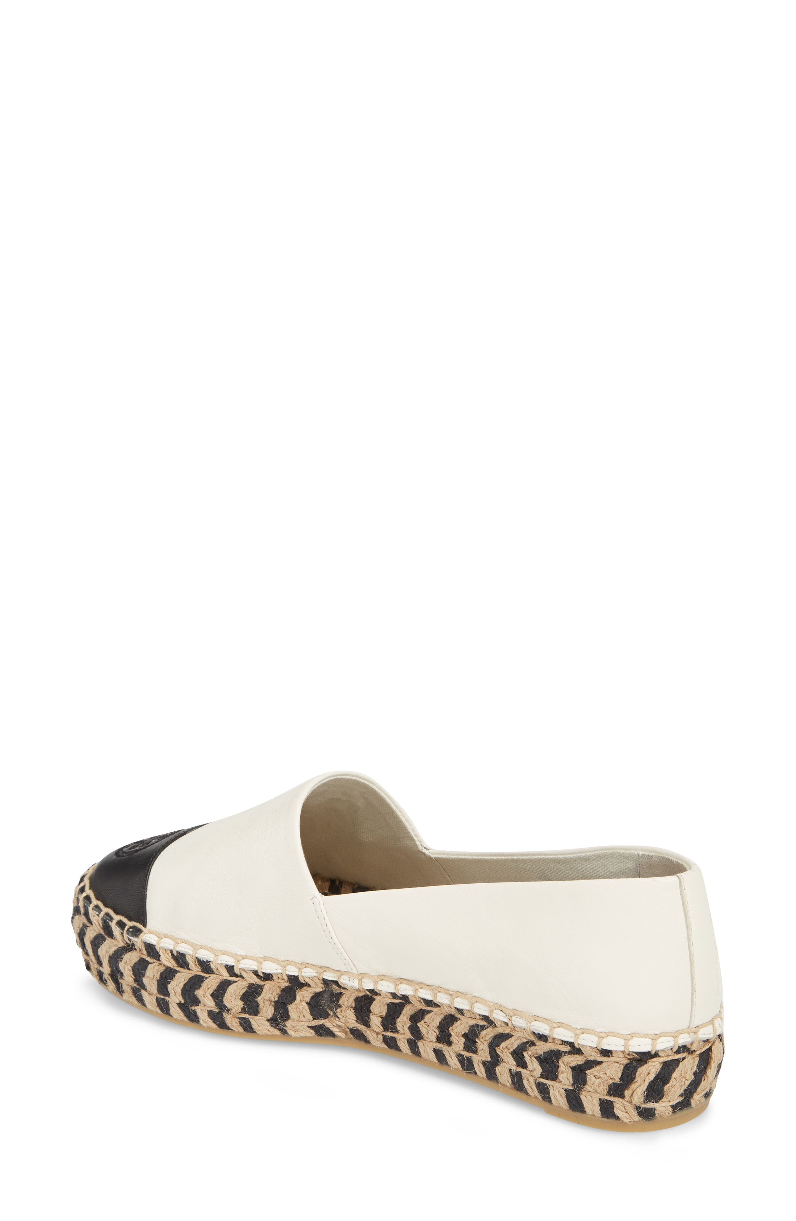 TORY BURCH, Colorblock Platform Espadrille, Alternate thumbnail 2, color, PERFECT IVORY/ PERFECT BLACK