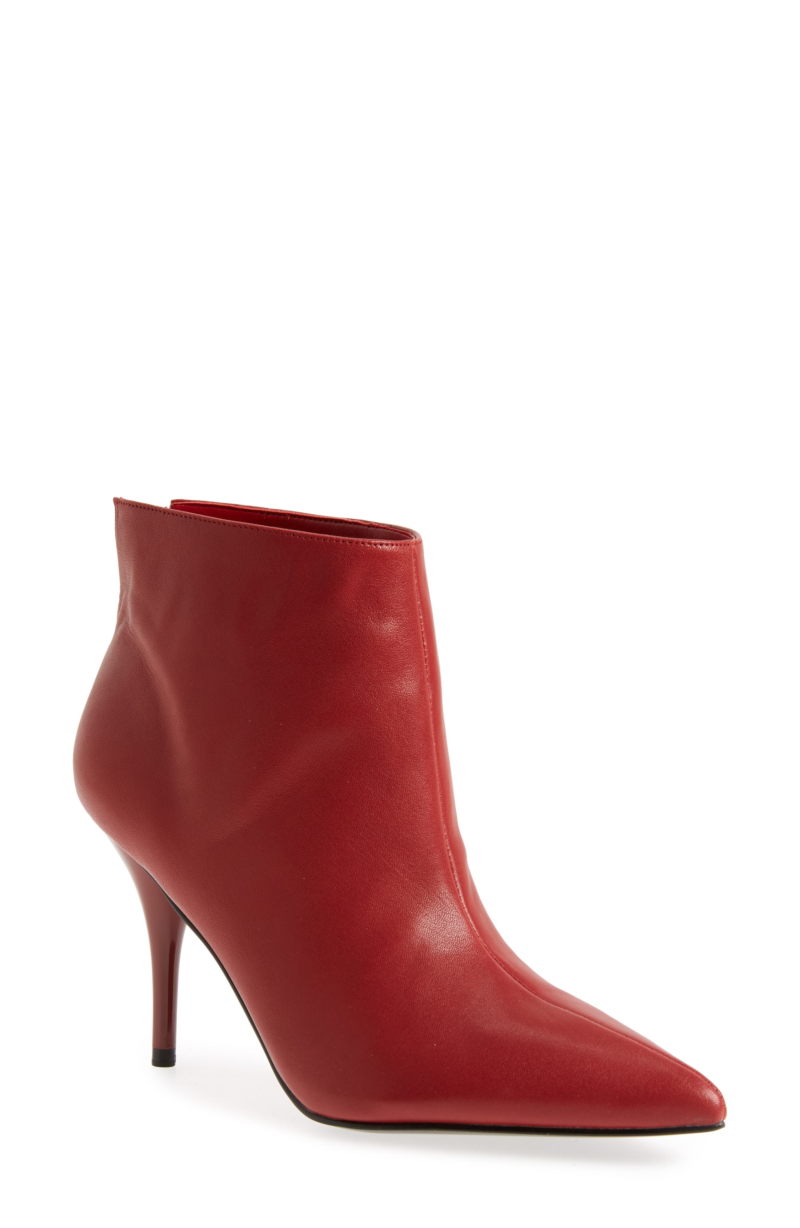 MARC FISHER LTD, Fenet Pointy Toe Bootie, Main thumbnail 1, color, RED LEATHER