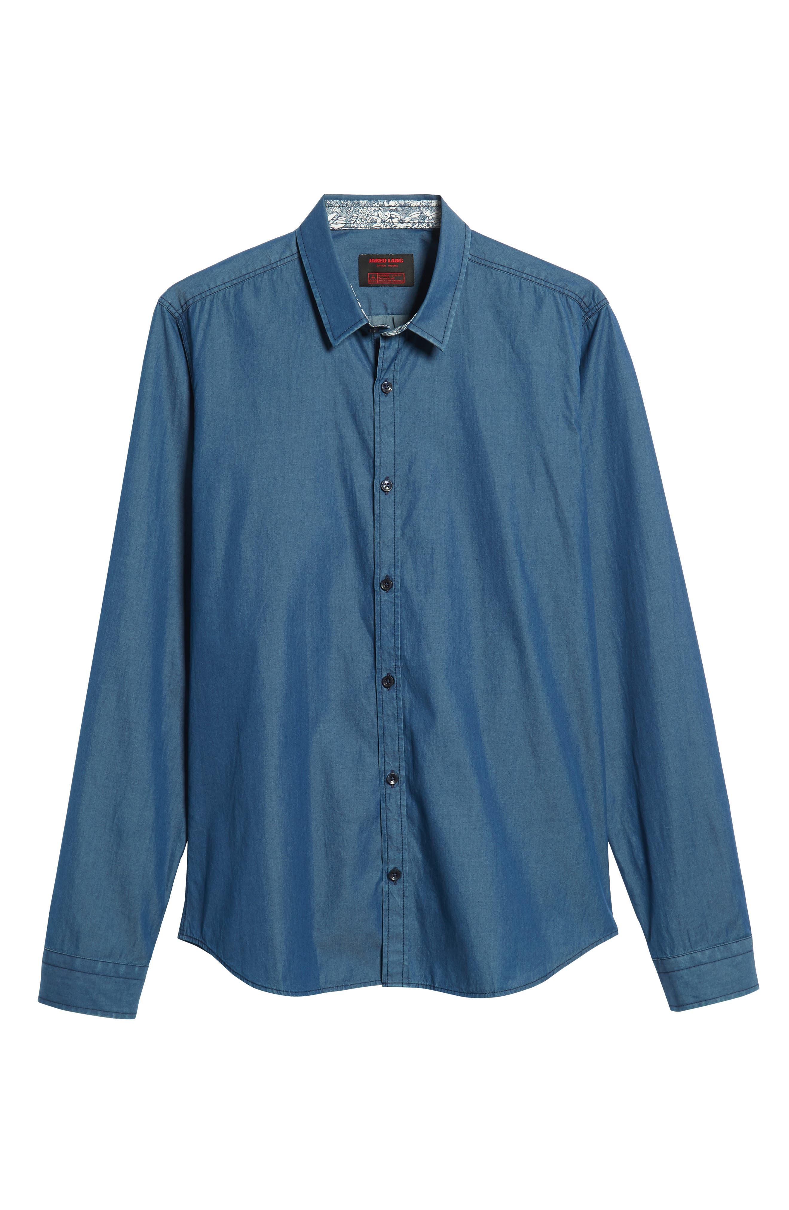 JARED LANG, Slim Fit Chambray Sport Shirt, Alternate thumbnail 5, color, CHAMBRAY