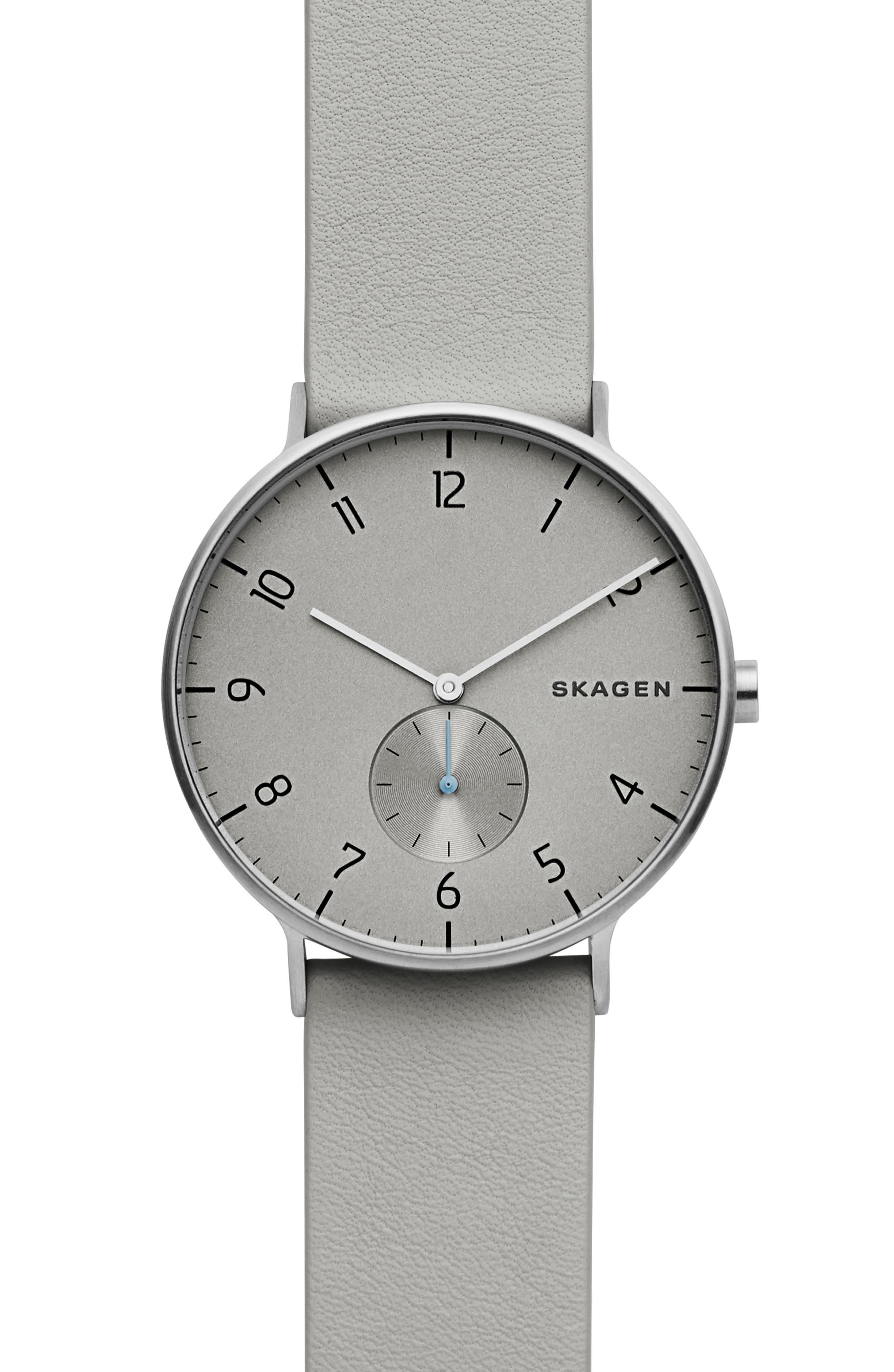 SKAGEN Aaren Leather Strap Watch, 40mm, Main, color, 020