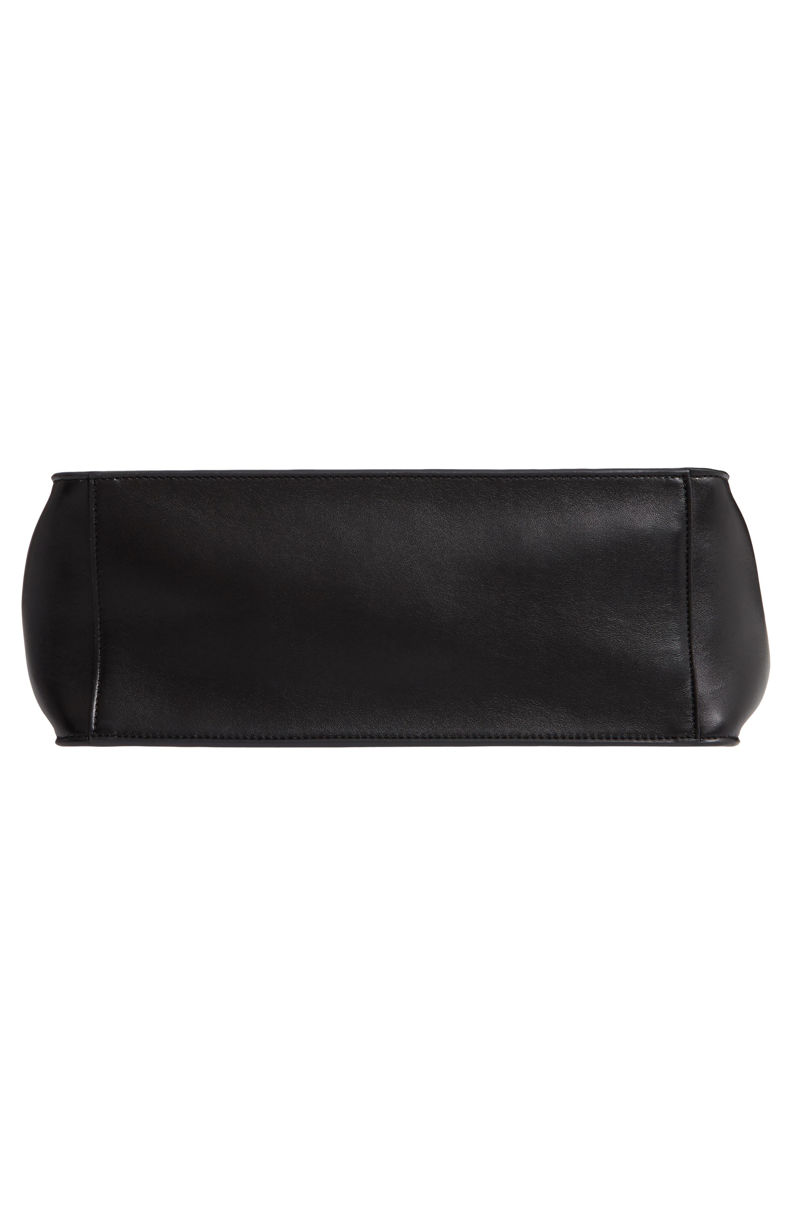 STELLA MCCARTNEY, Perforated Logo Faux Leather Satchel, Alternate thumbnail 6, color, BLACK