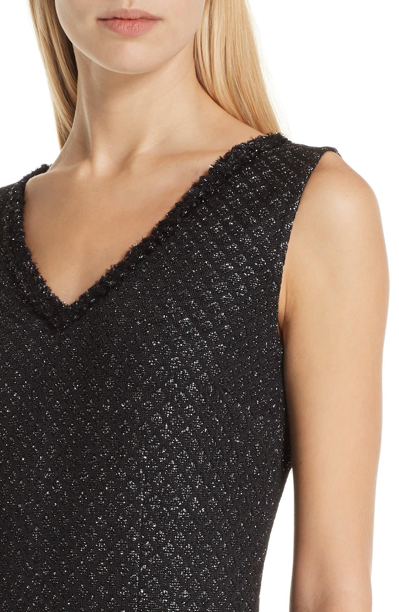 ST. JOHN COLLECTION, Shimmer Inlay Brocade Knit Dress, Alternate thumbnail 4, color, CAVIAR/ SILVER
