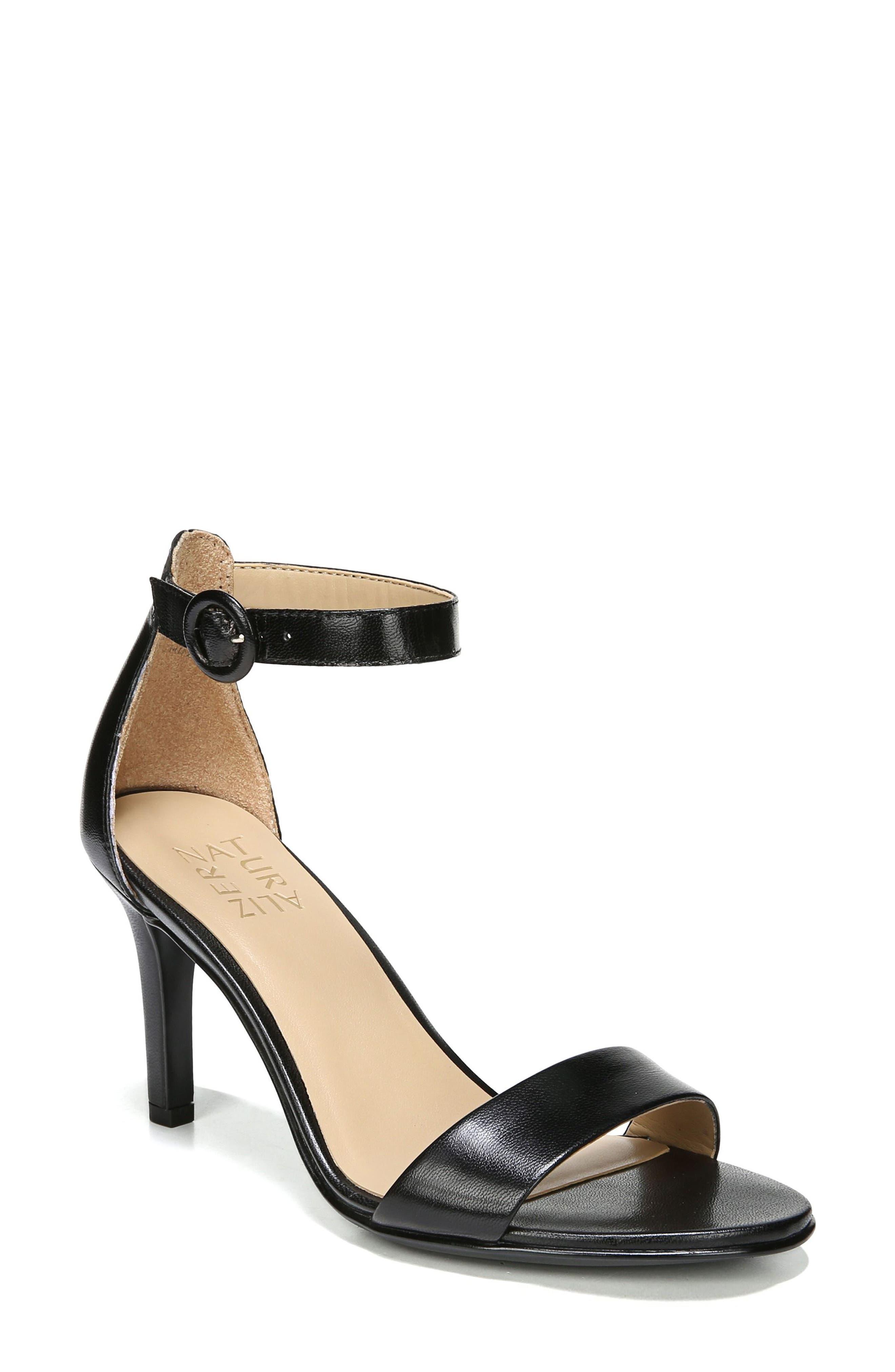 NATURALIZER, Kinsley Ankle Strap Sandal, Main thumbnail 1, color, BLACK LEATHER