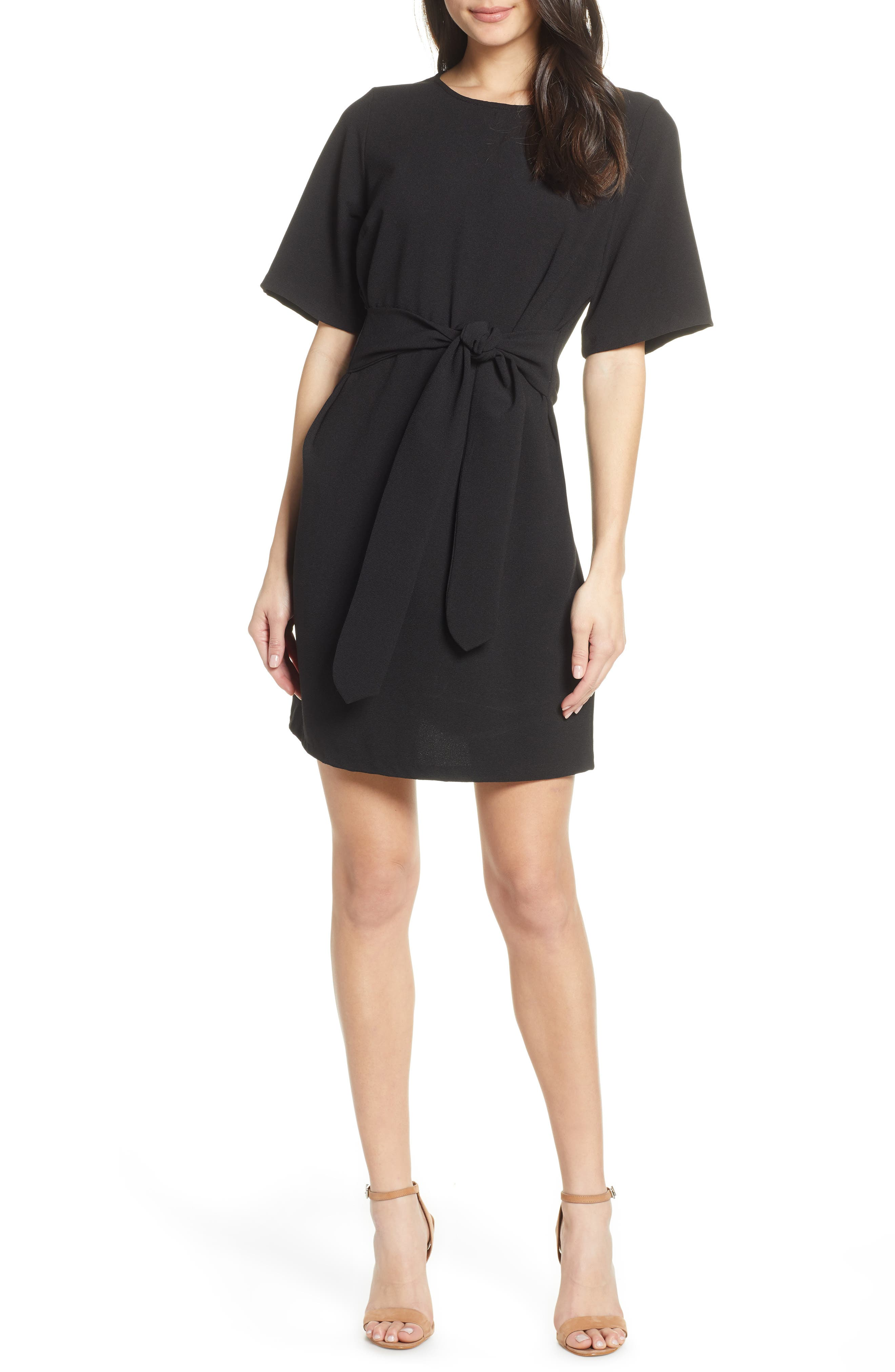 CHELSEA28, Front Tie Shift Dress, Main thumbnail 1, color, BLACK