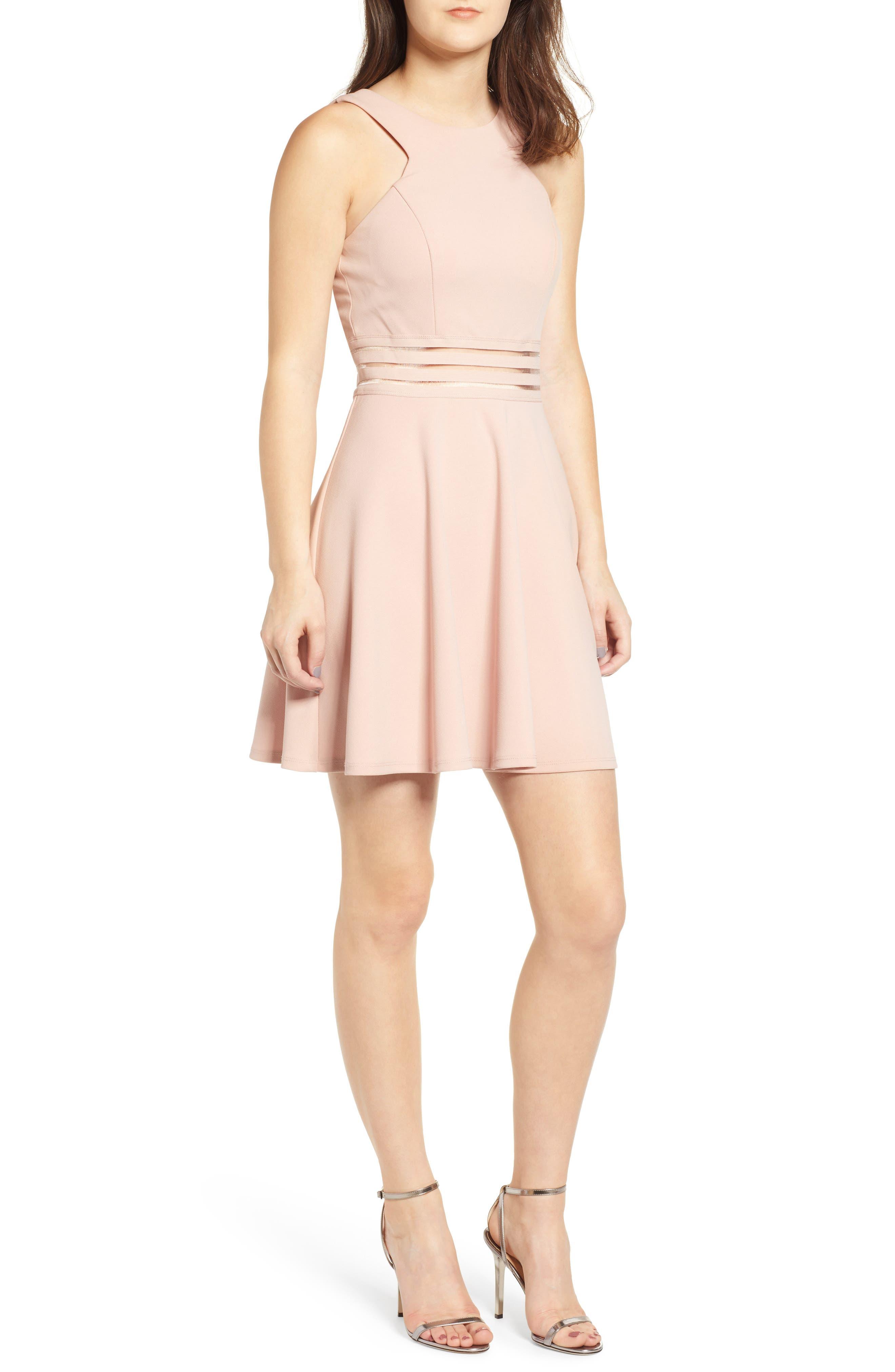 SPEECHLESS Scuba Skater Dress, Main, color, DUSTY ROSE