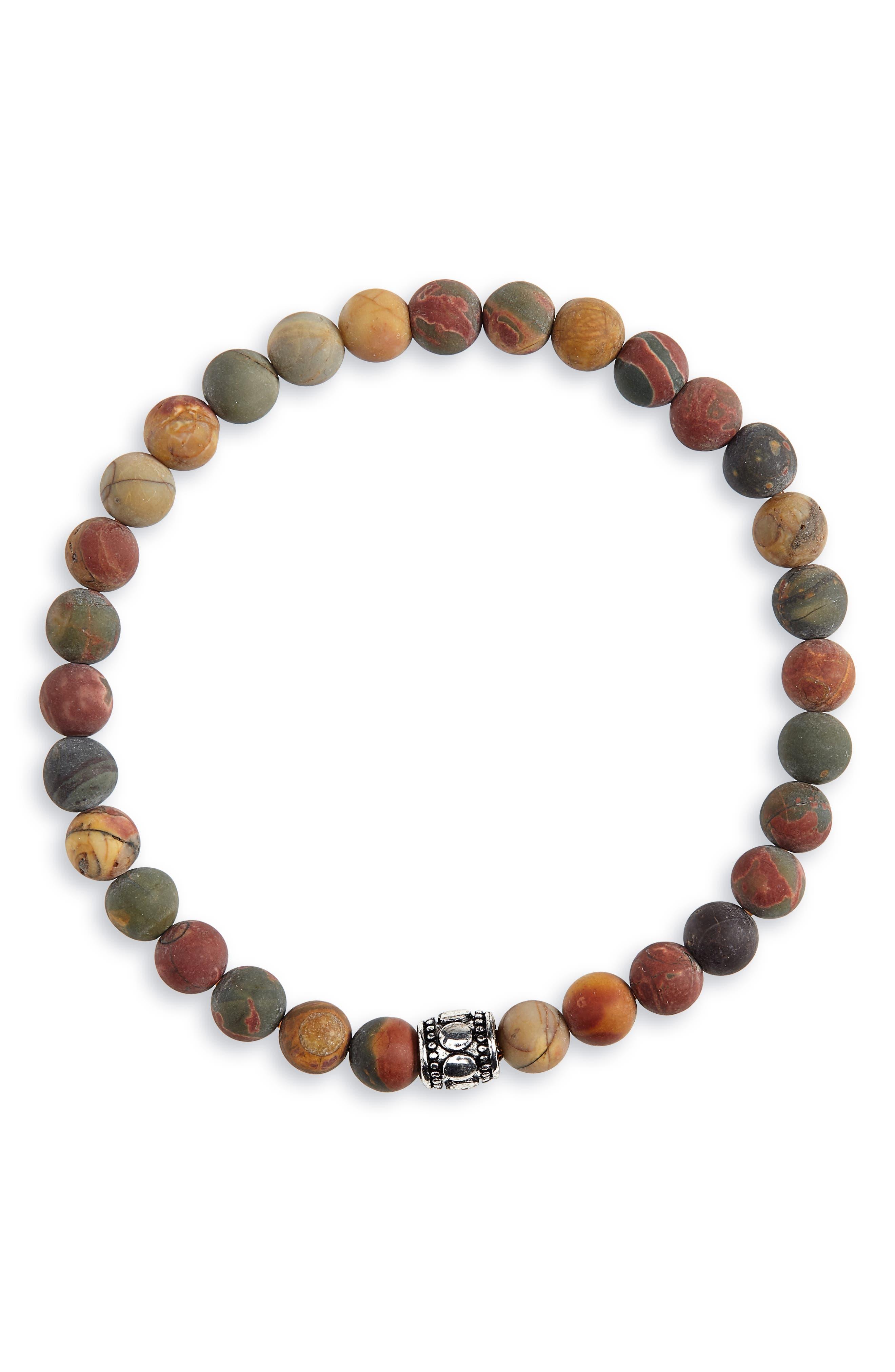 NORDSTROM MEN'S SHOP, Beaded Bracelet, Main thumbnail 1, color, BROWN/ NAVY